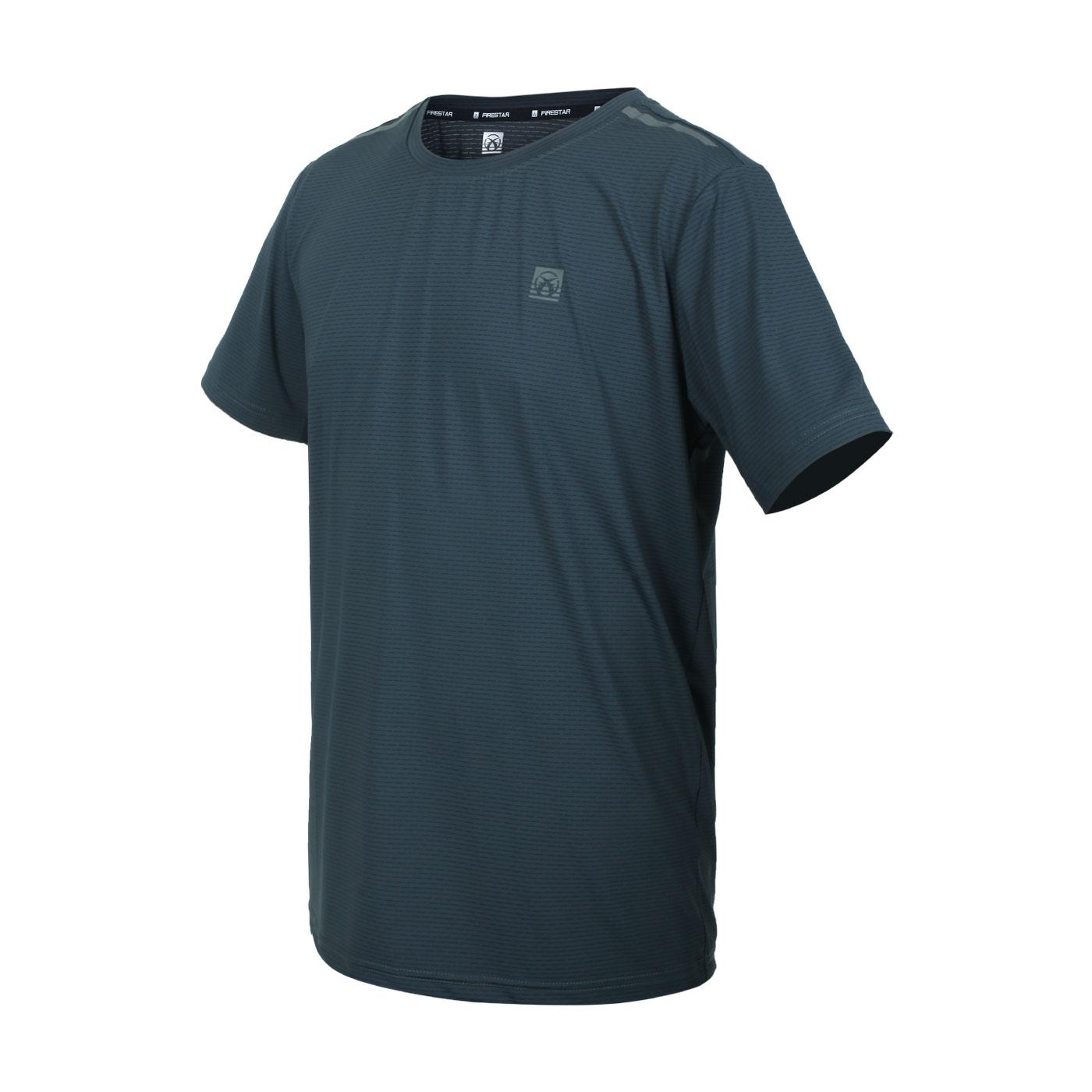 FIRESTAR 男款彈性機能圓領短袖T恤 D1732-16 - 灰綠銀
