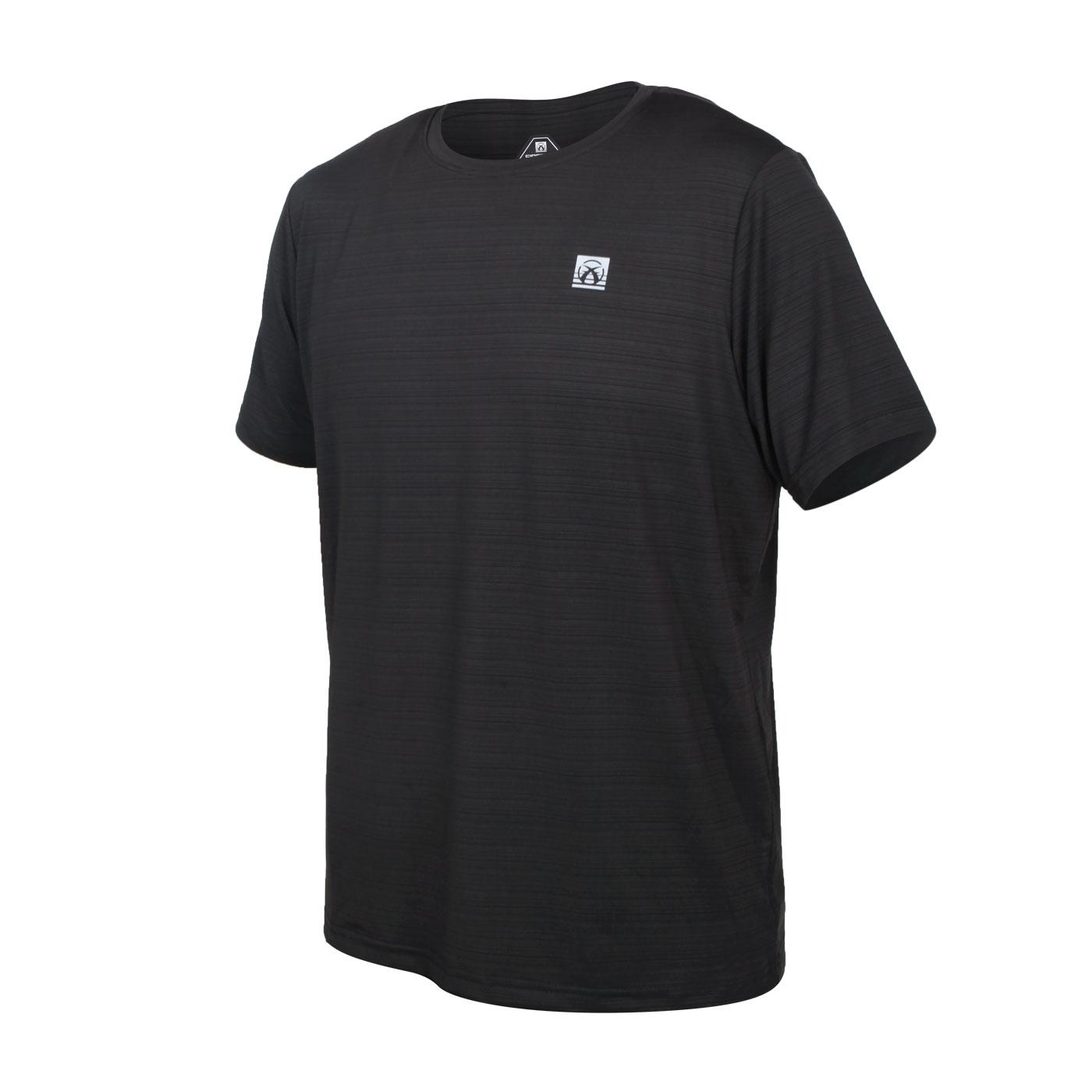FIRESTAR 男彈性機能短袖圓領T恤 D1733-10 - 黑銀