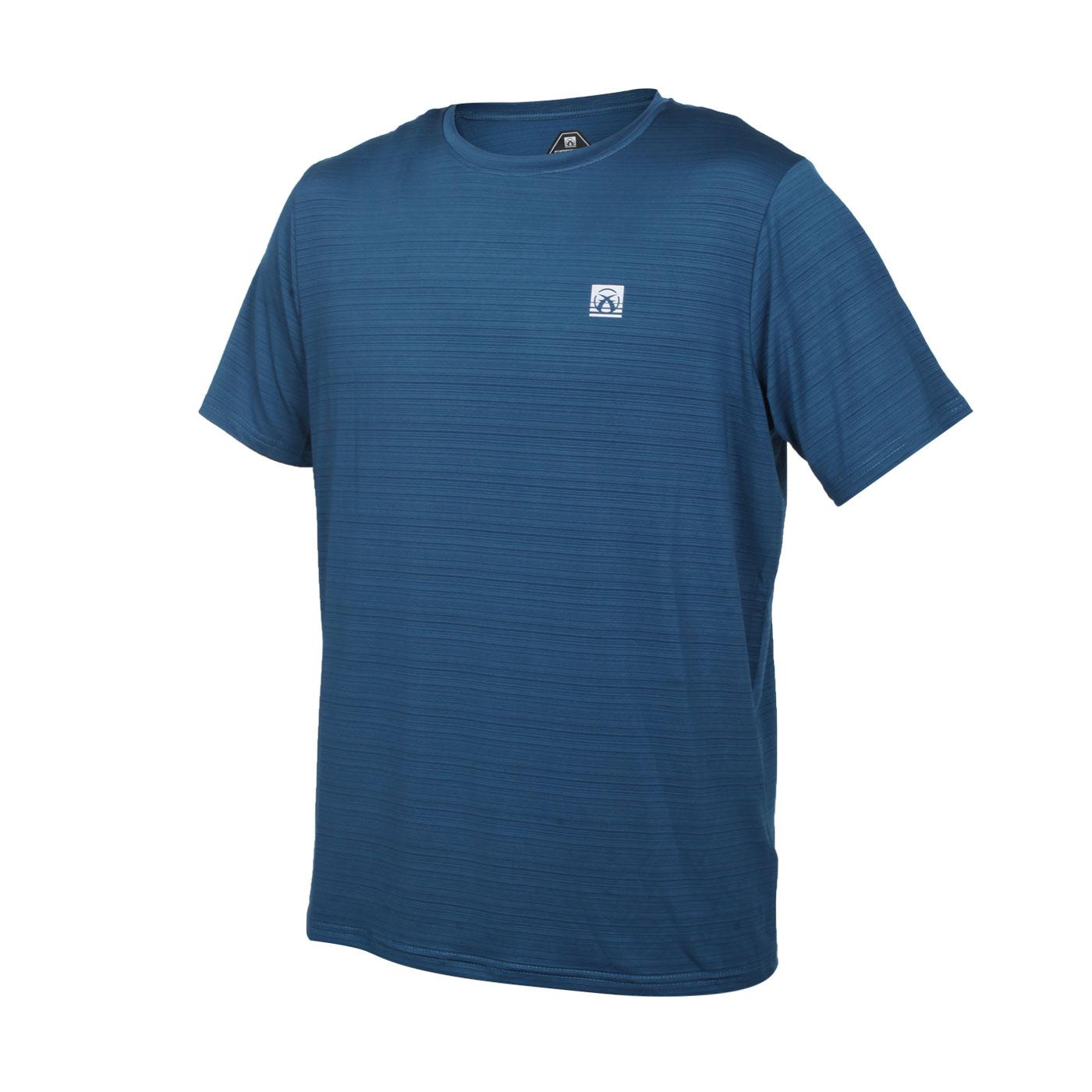 FIRESTAR 男彈性機能短袖圓領T恤 D1733-97 - 墨藍銀