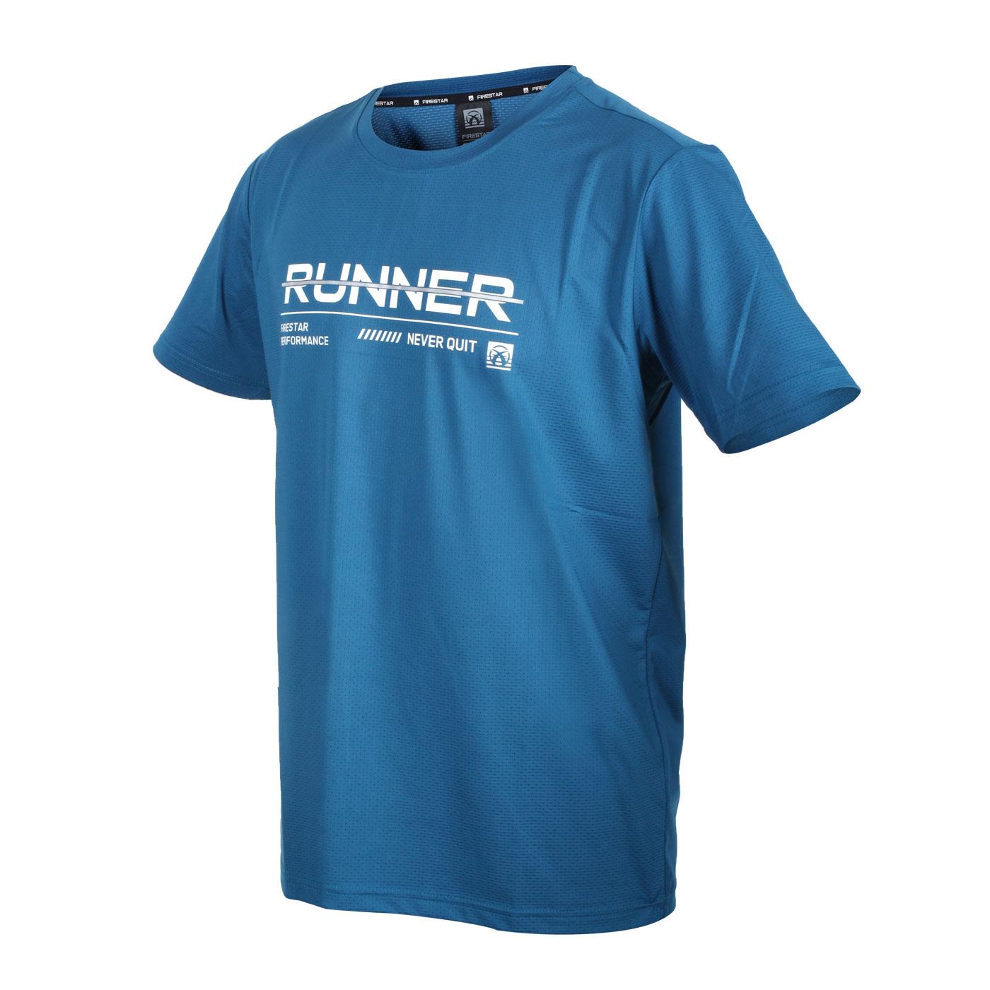 FIRESTAR 男款彈性印花圓領短袖T恤 D1736-98 - 藍白