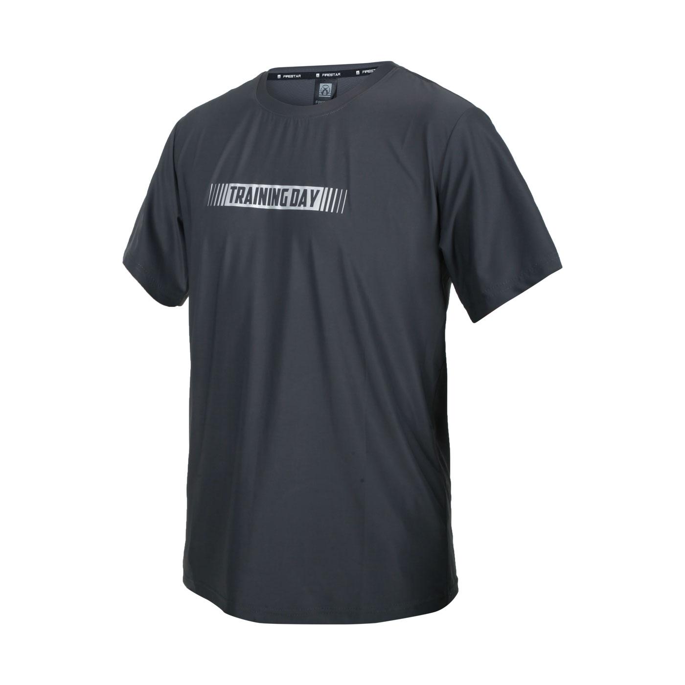 FIRESTAR 男款彈性印花圓領T恤 D1737-15 - 灰銀