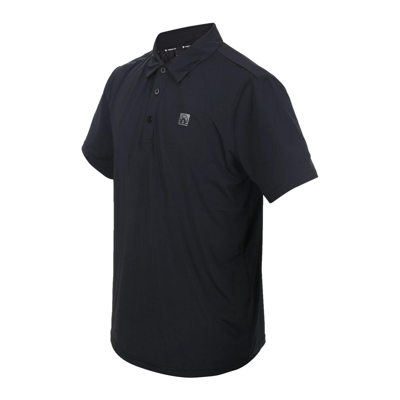 FIRESTAR 男款彈性高爾夫短袖POLO衫 D1752-10 - 黑銀