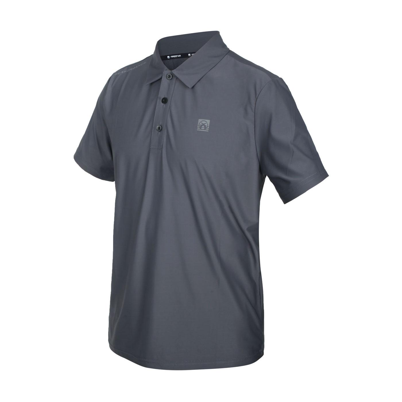 FIRESTAR 男款彈性高爾夫短袖POLO衫 D1752-15 - 深灰銀