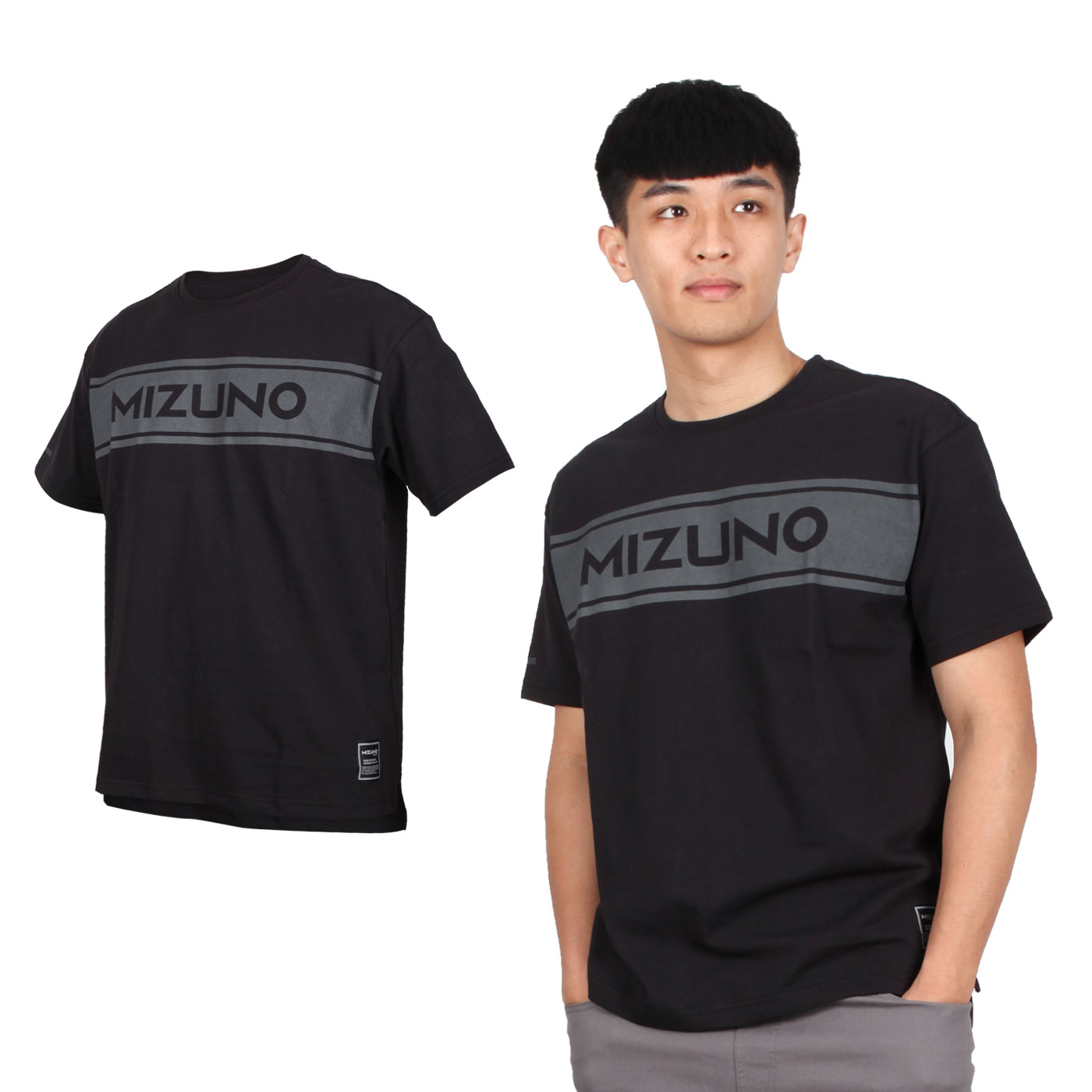 MIZUNO 男款1906系列短袖T恤 D2TA000301 - 黑灰