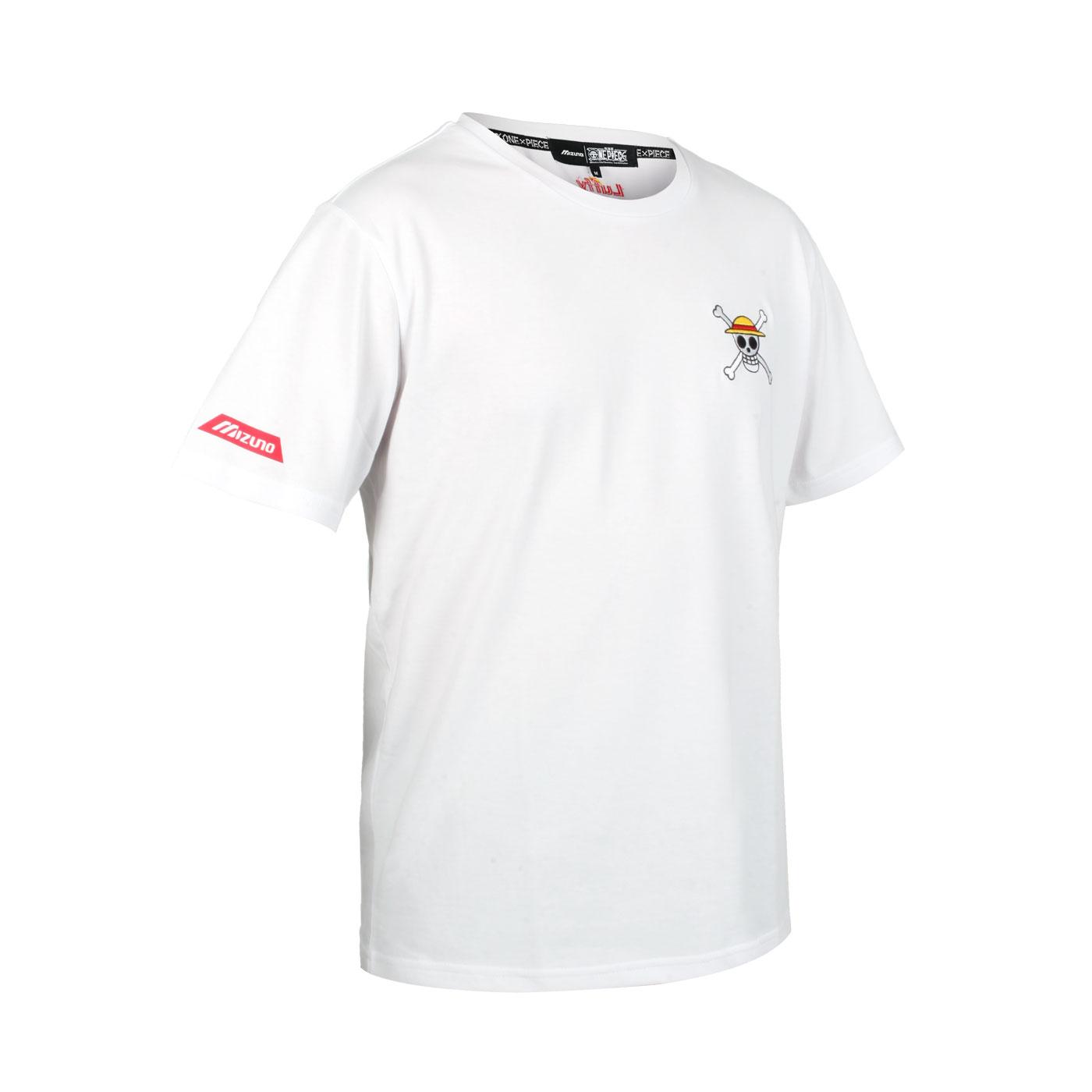 MIZUNO 特定-男款短袖T恤-魯夫款(海賊王聯名款) D2TA150901 - 白紅黃