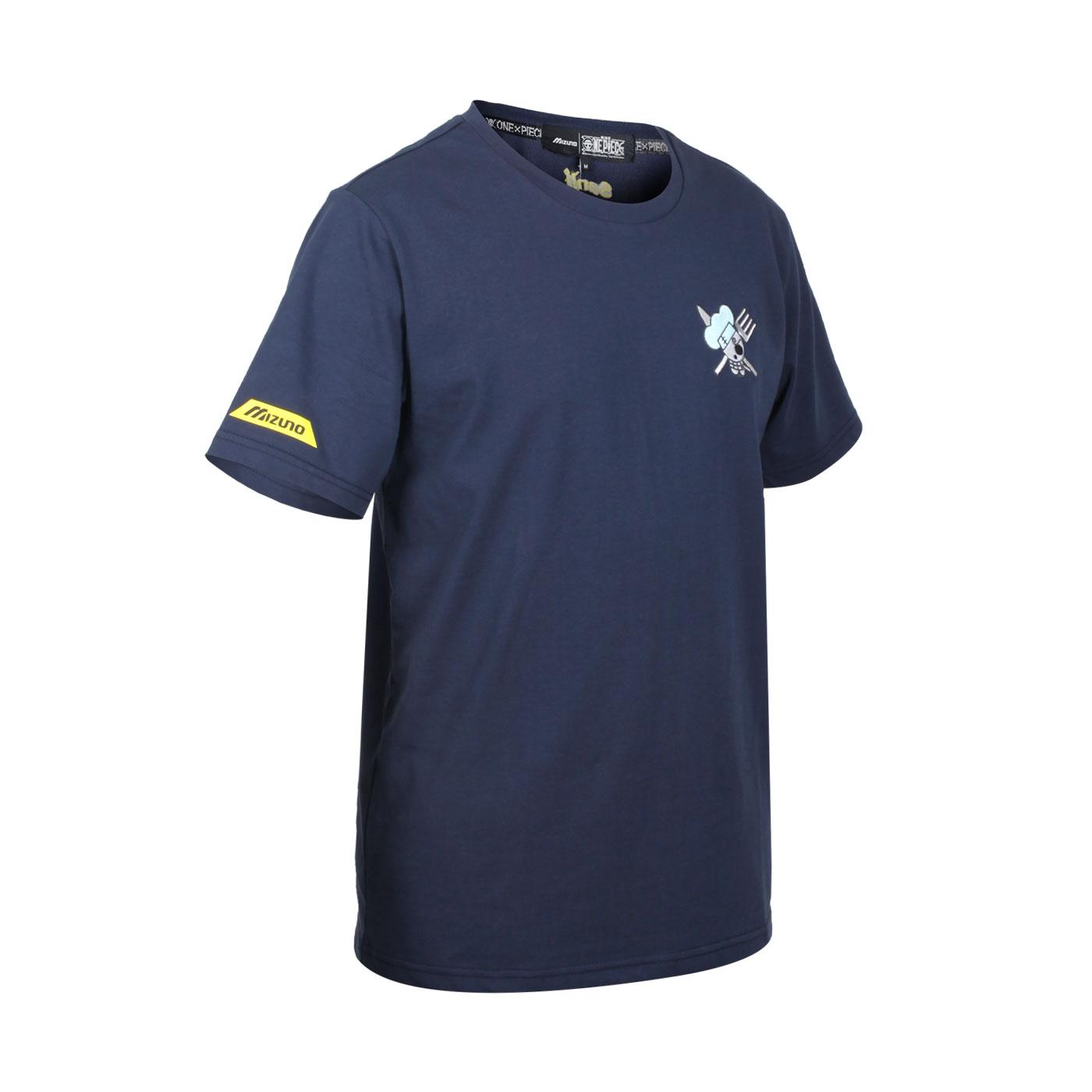 MIZUNO 特定-男款短袖T恤-香吉士款(海賊王聯名款) D2TA150914 - 丈青白藍
