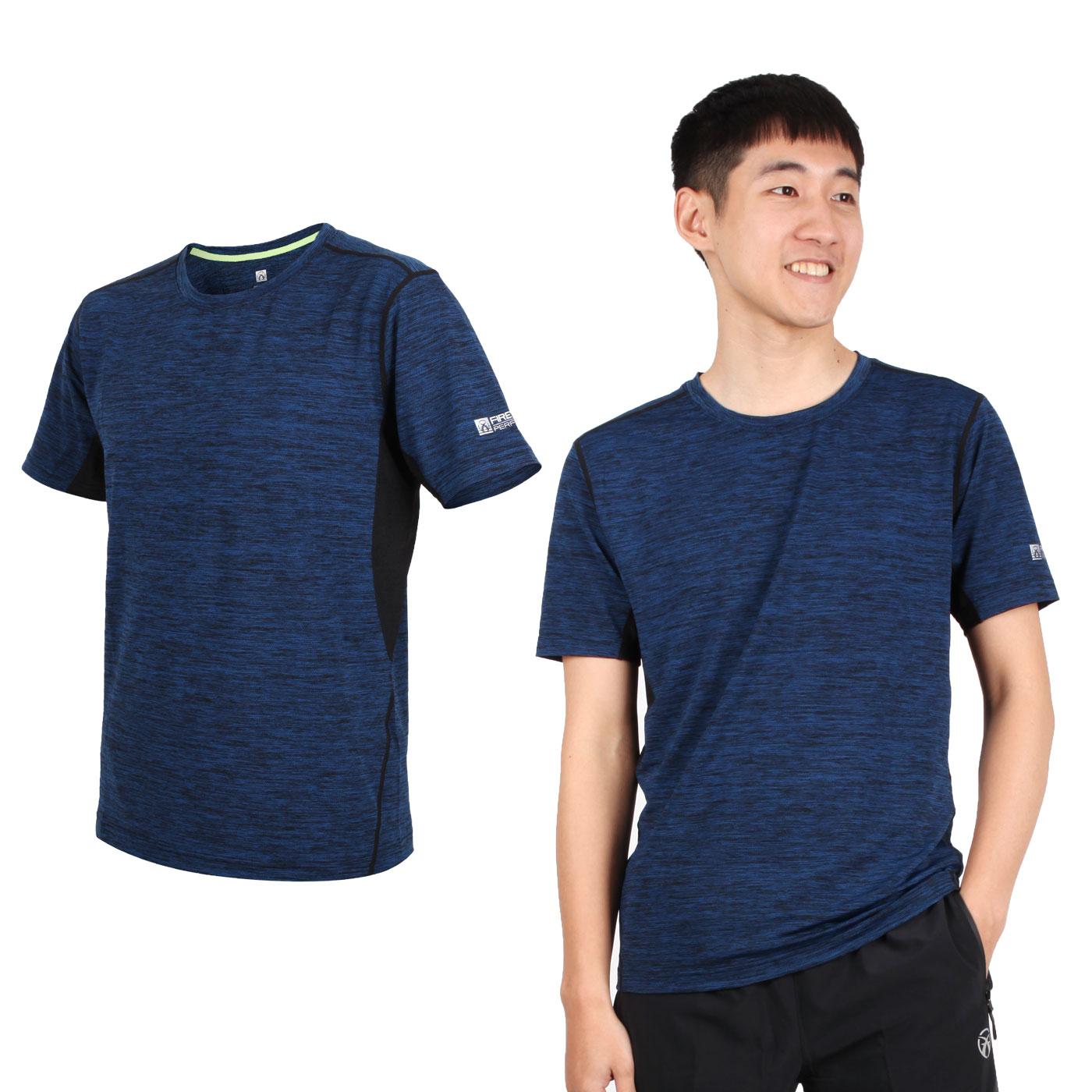 FIRESTAR 男款彈性圓領短袖T恤 D9230-18 - 麻花深藍黑