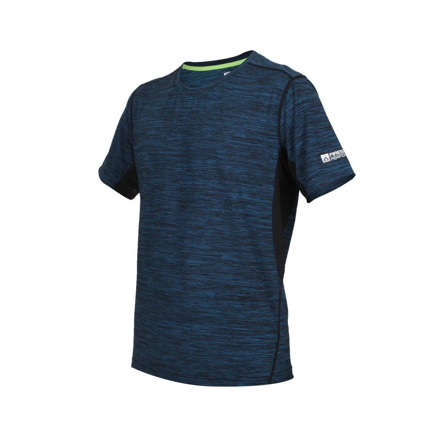 FIRESTAR 男款彈性圓領短袖T恤 D9230-18 - 麻花黑水藍
