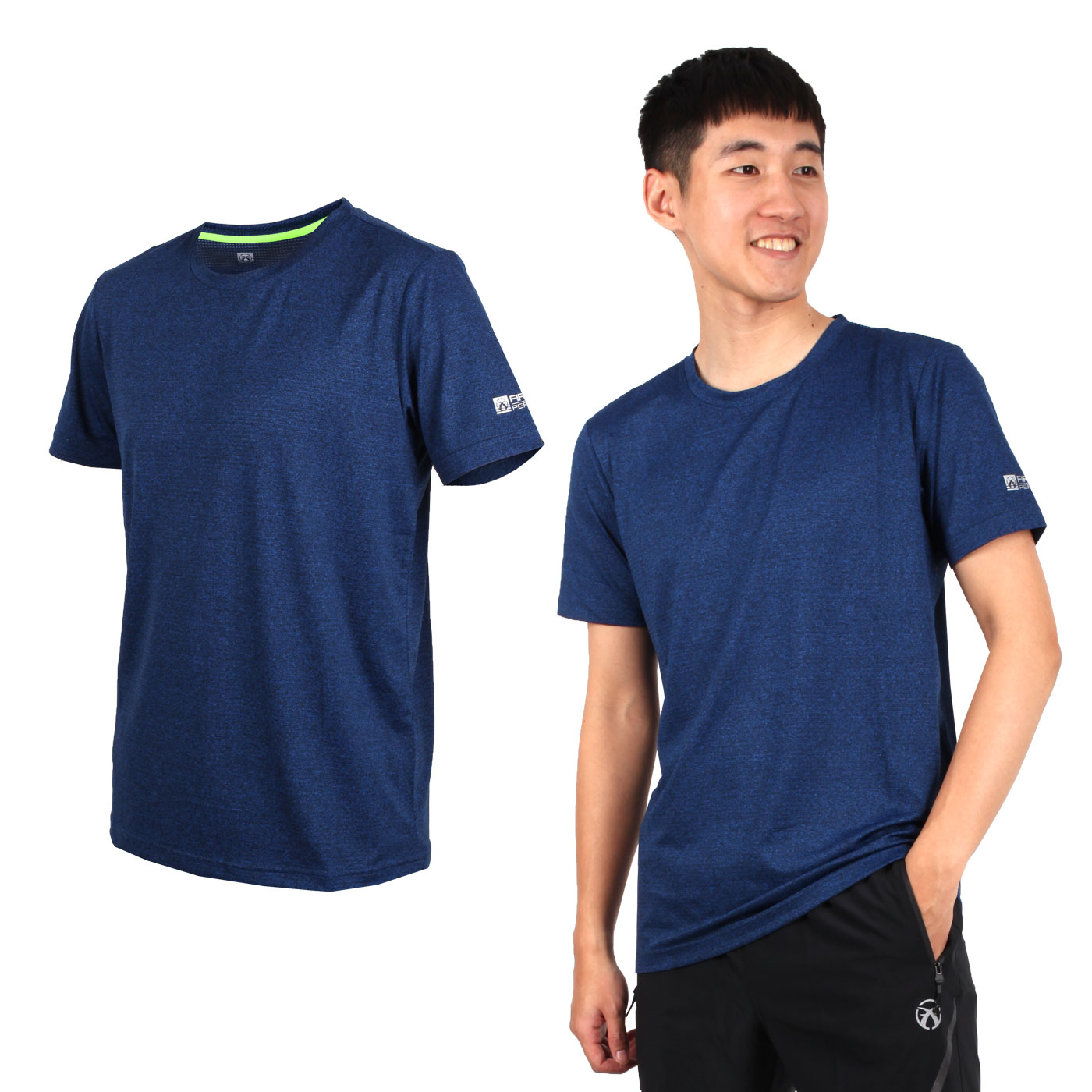 FIRESTAR 男彈性短袖圓領T恤 D9232-18 - 麻花深藍黑