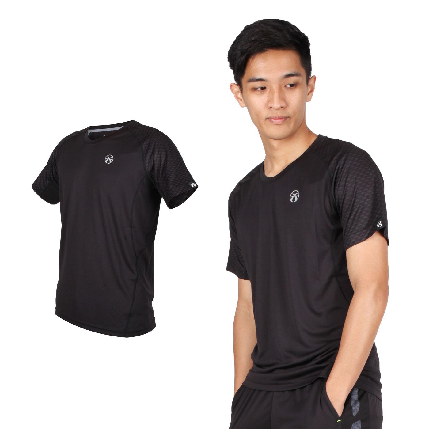FIRESTAR 男款吸濕排汗圓領短袖T恤 D9235-10 - 黑銀