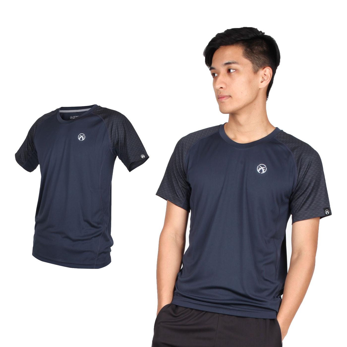 FIRESTAR 男款吸濕排汗圓領短袖T恤 D9235-10 - 丈青銀