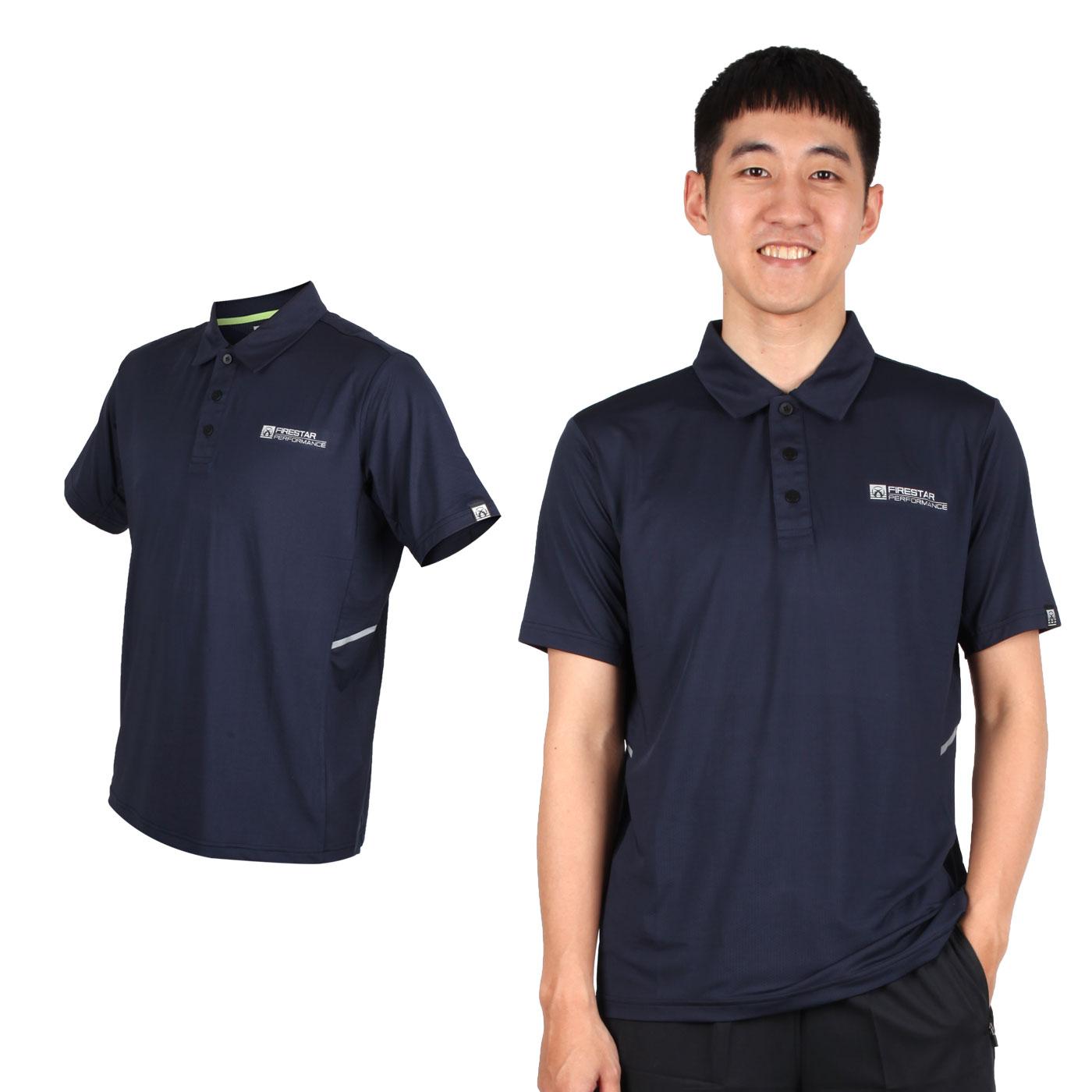 FIRESTAR 男款彈性短袖POLO衫 D9252-10 - 丈青銀