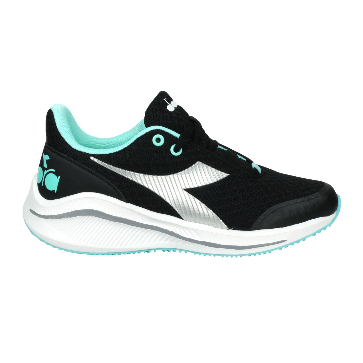 DIADORA 大童專業輕量慢跑鞋-超寬楦 DA11035 - 黑銀湖水綠