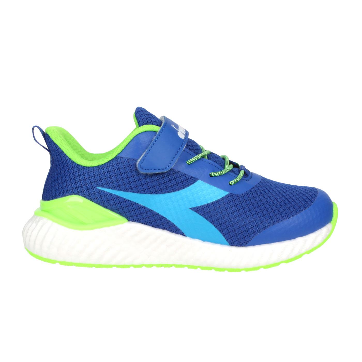 DIADORA 中童慢跑鞋-超寬楦 DA13015 - 藍螢光綠白