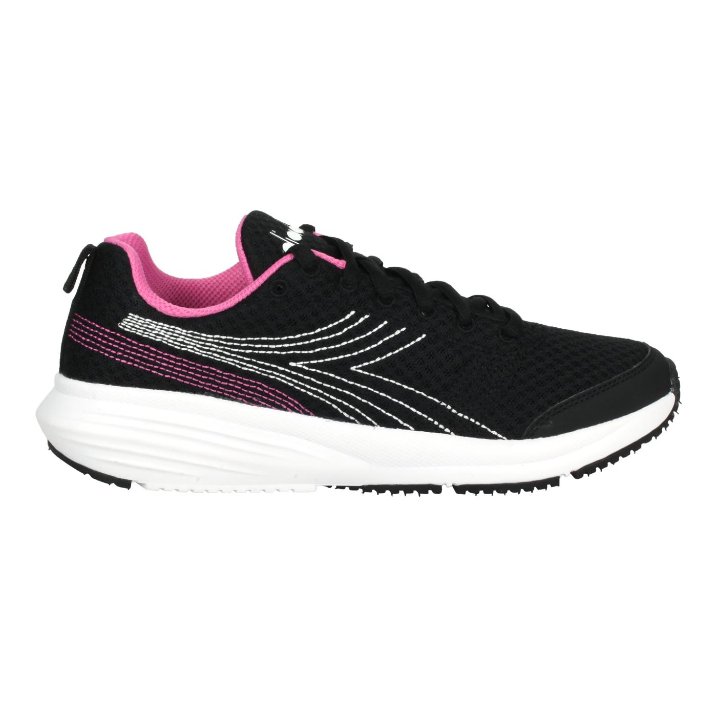 DIADORA 女款進口慢跑鞋 DA176874-C9046 - 黑白粉紅