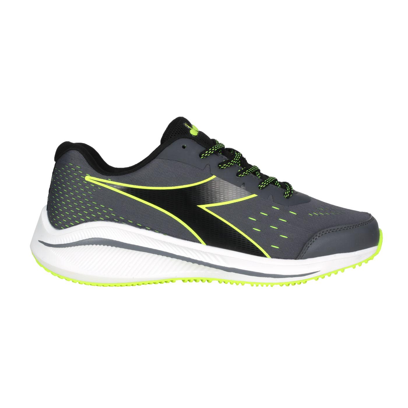 DIADORA 男款專業輕量慢跑鞋-E寬楦 DA71172 - 灰黑螢光綠