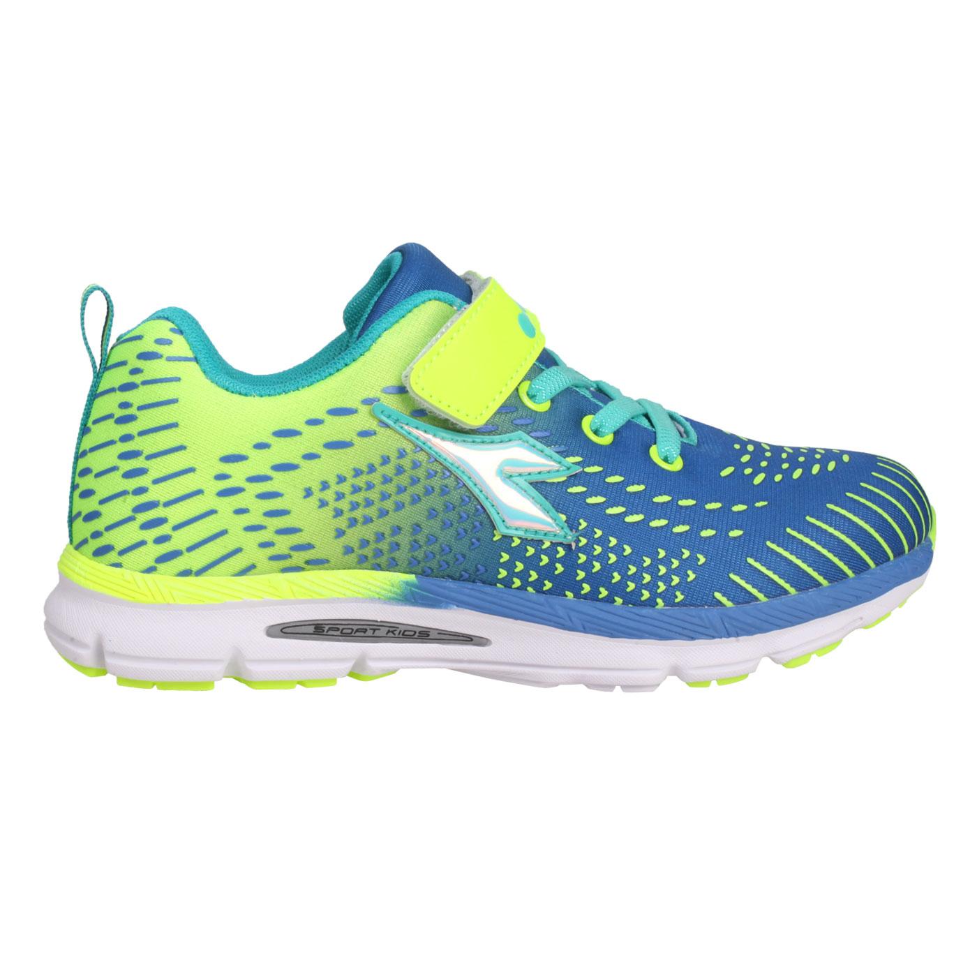 DIADORA 中童慢跑鞋-超寬楦 DA9AKR7276 - 藍綠螢光黃