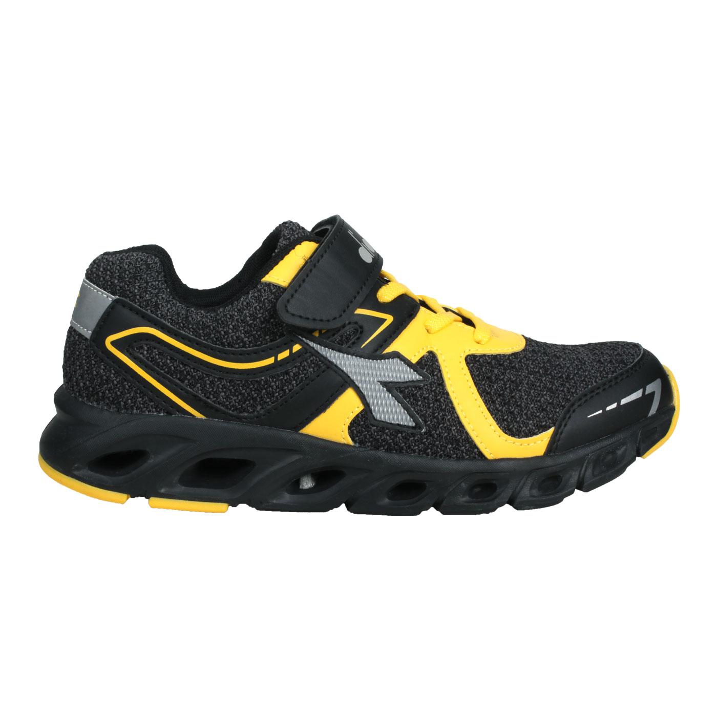 DIADORA 大童競速慢跑鞋-加寬楦 DA9AKR7870 - 黑黃灰