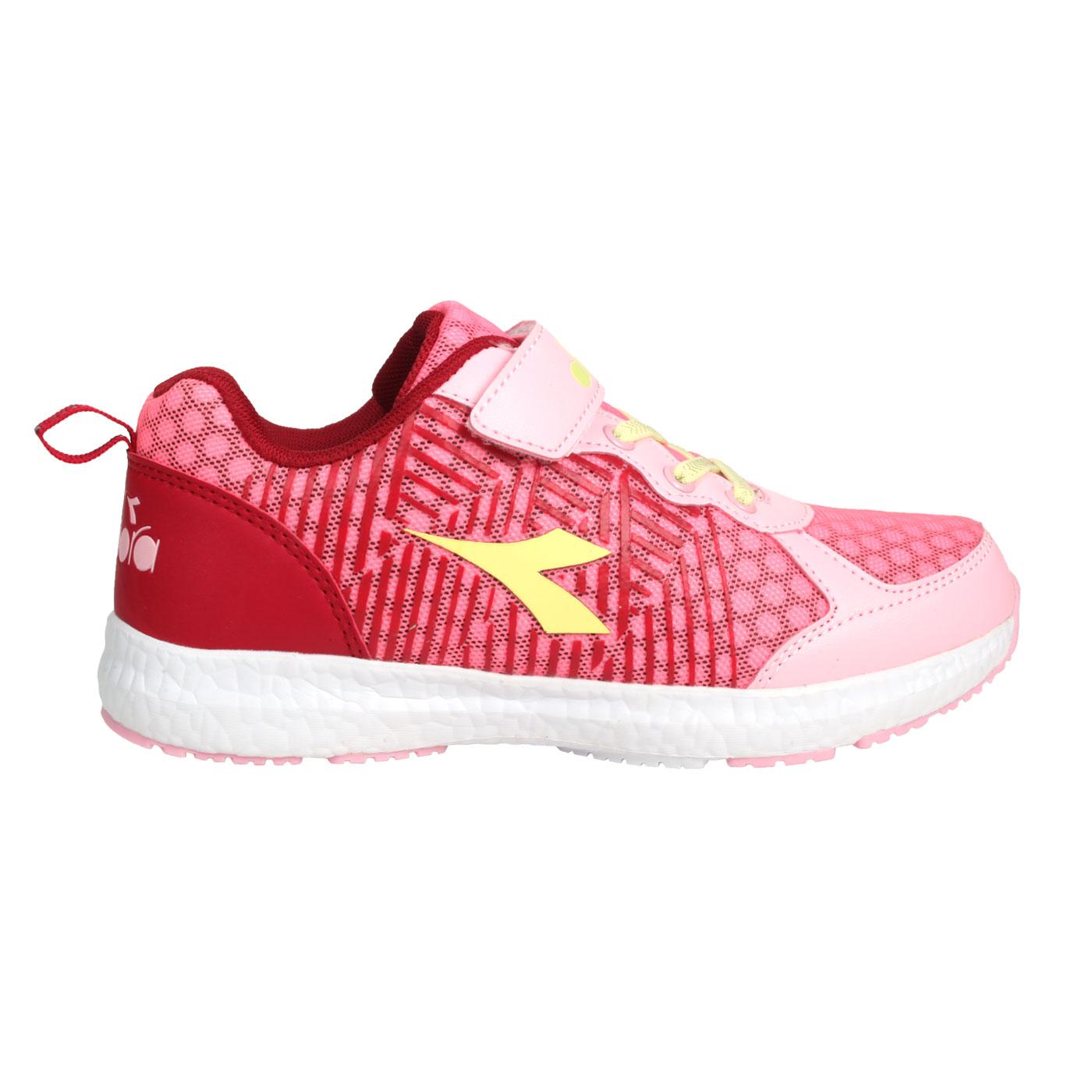 DIADORA 大童競速慢跑鞋-加寬楦 DA9AKR7882 - 粉紅酒紅黃