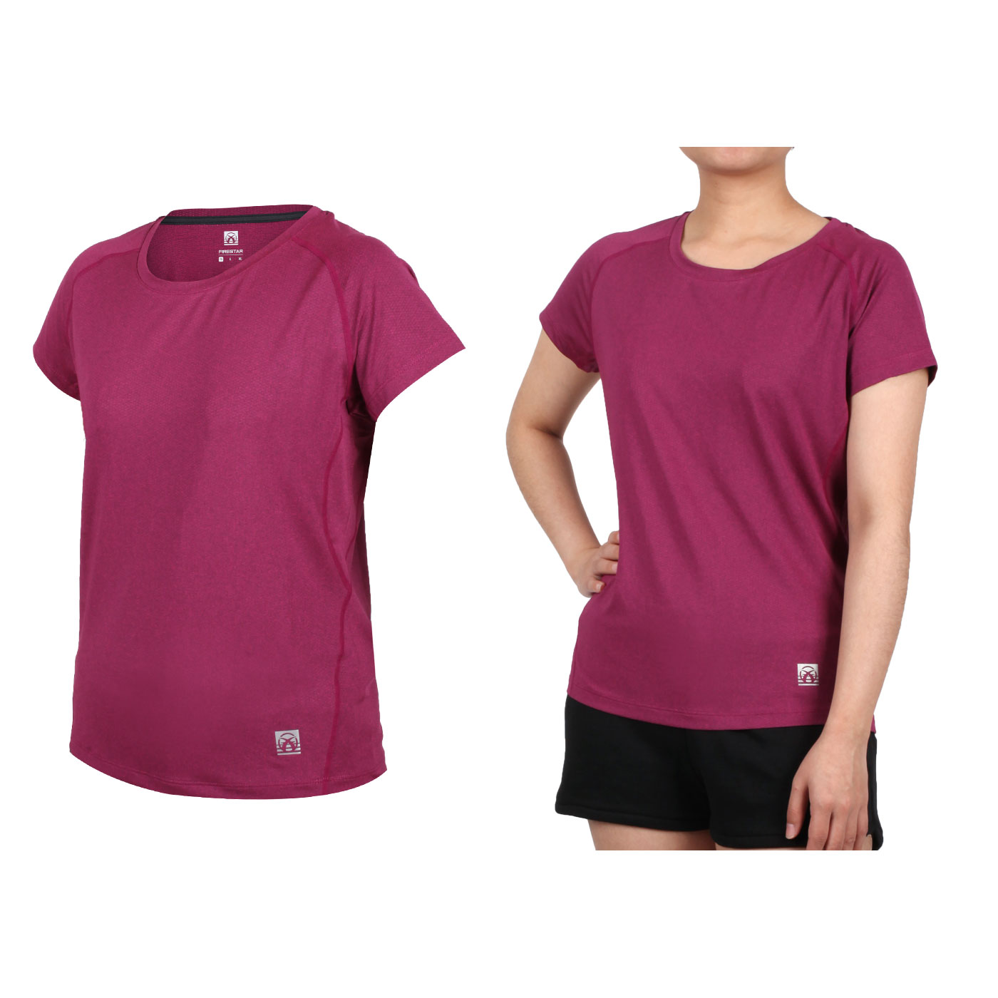 FIRESTAR 女款彈性剪接圓領短袖T恤 DL060-19 - 深桃紅