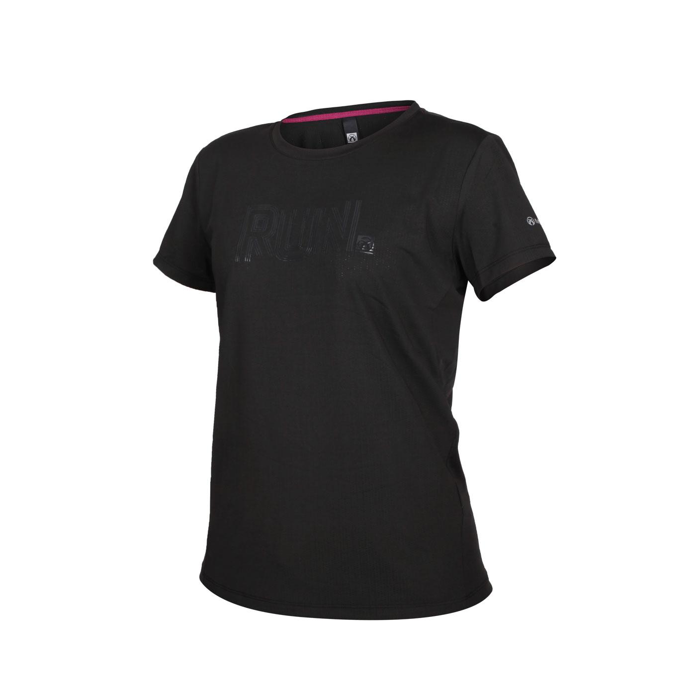 FIRESTAR 女款彈性印花圓領短袖T恤 DL062-10 - 黑
