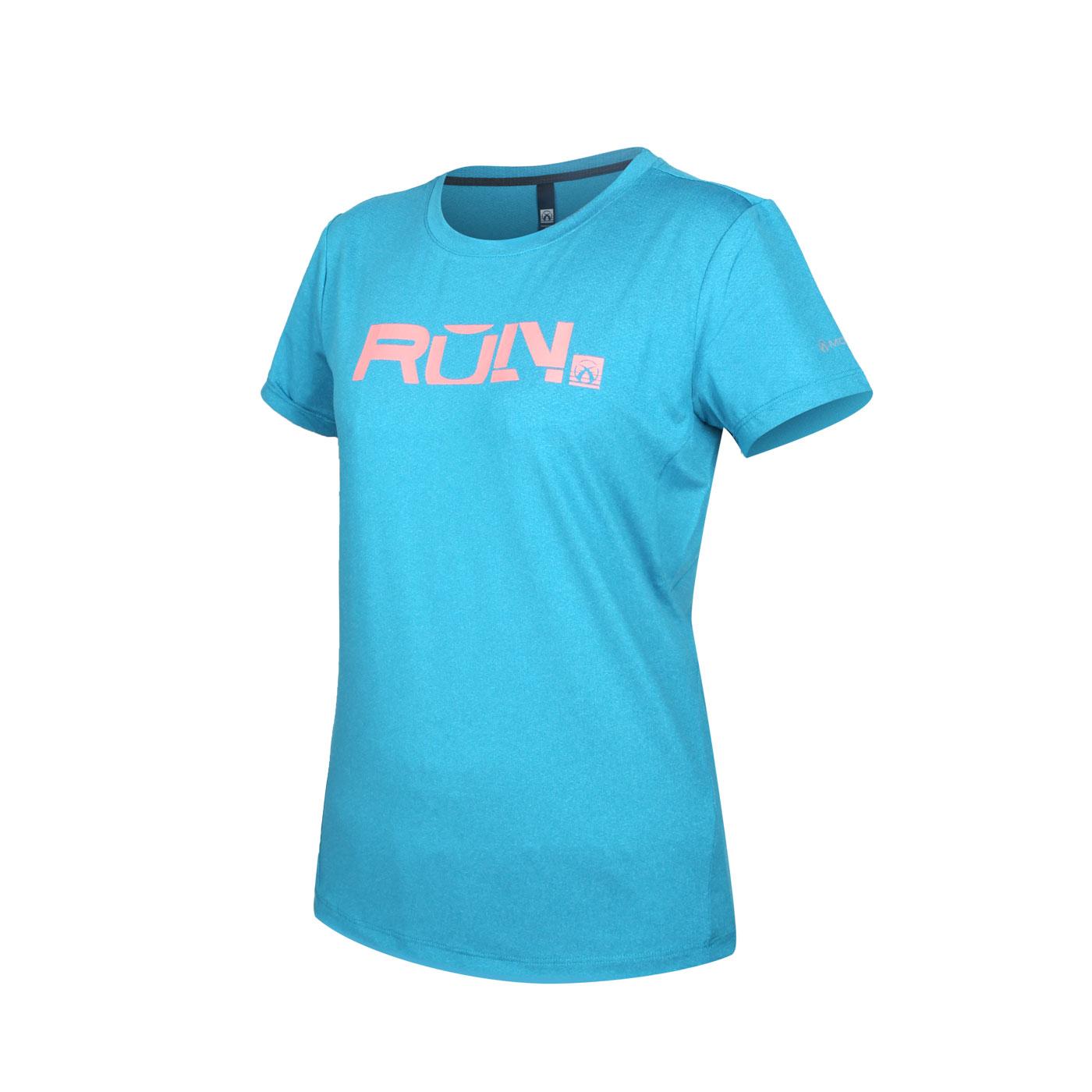FIRESTAR 女款彈性印花圓領短袖T恤 DL063-19 - 湖水藍粉橘