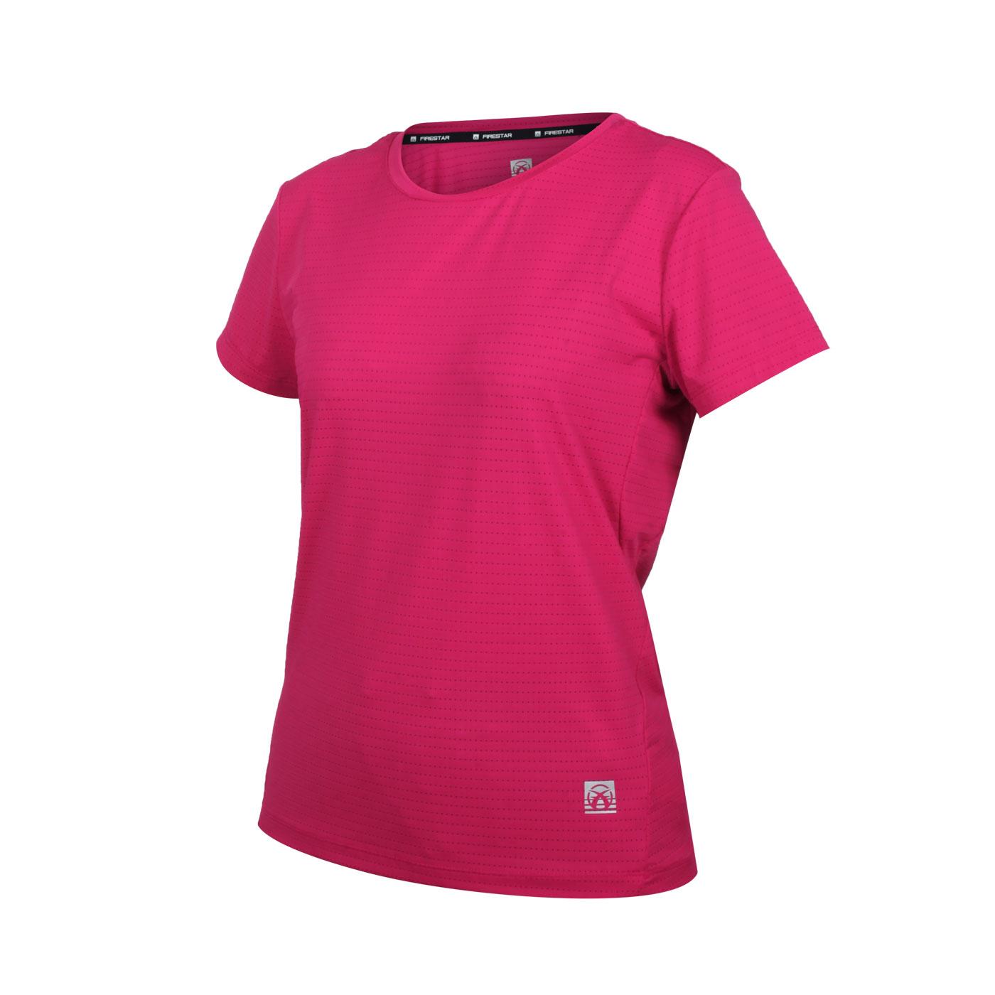 FIRESTAR 女款彈性機能圓領短袖T恤 DL162-43 - 深桃紅