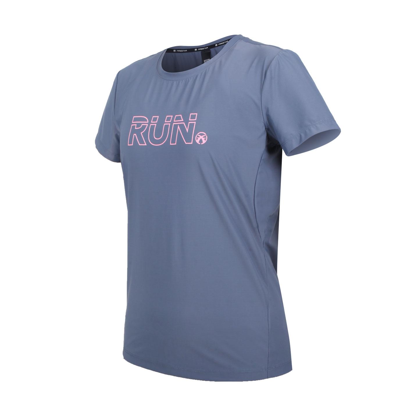FIRESTAR 女款彈性印花圓領短袖T恤 DL163-13 - 灰紫粉