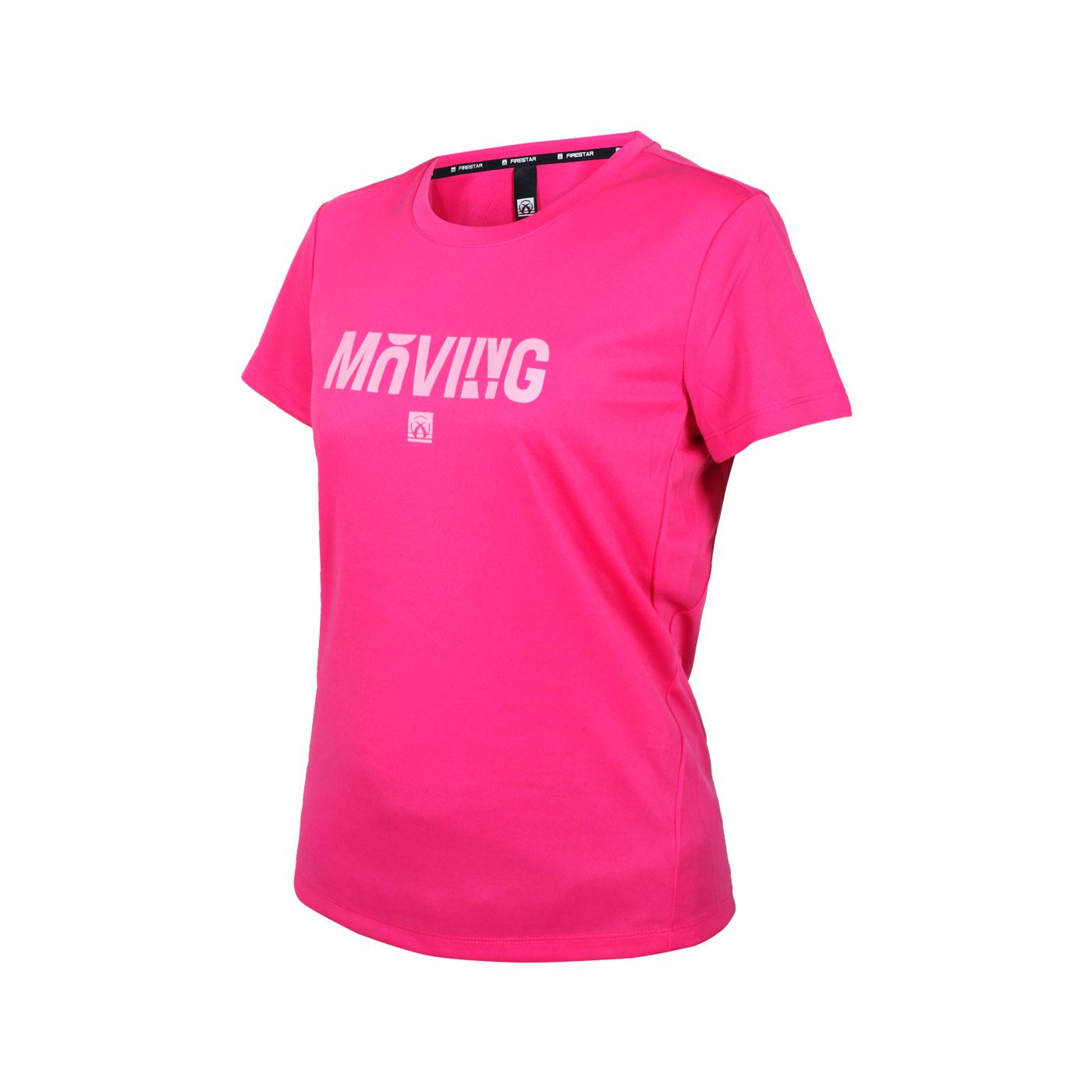 FIRESTAR 女款吸排印花圓領短袖T恤 DL165-46 - 桃紅粉