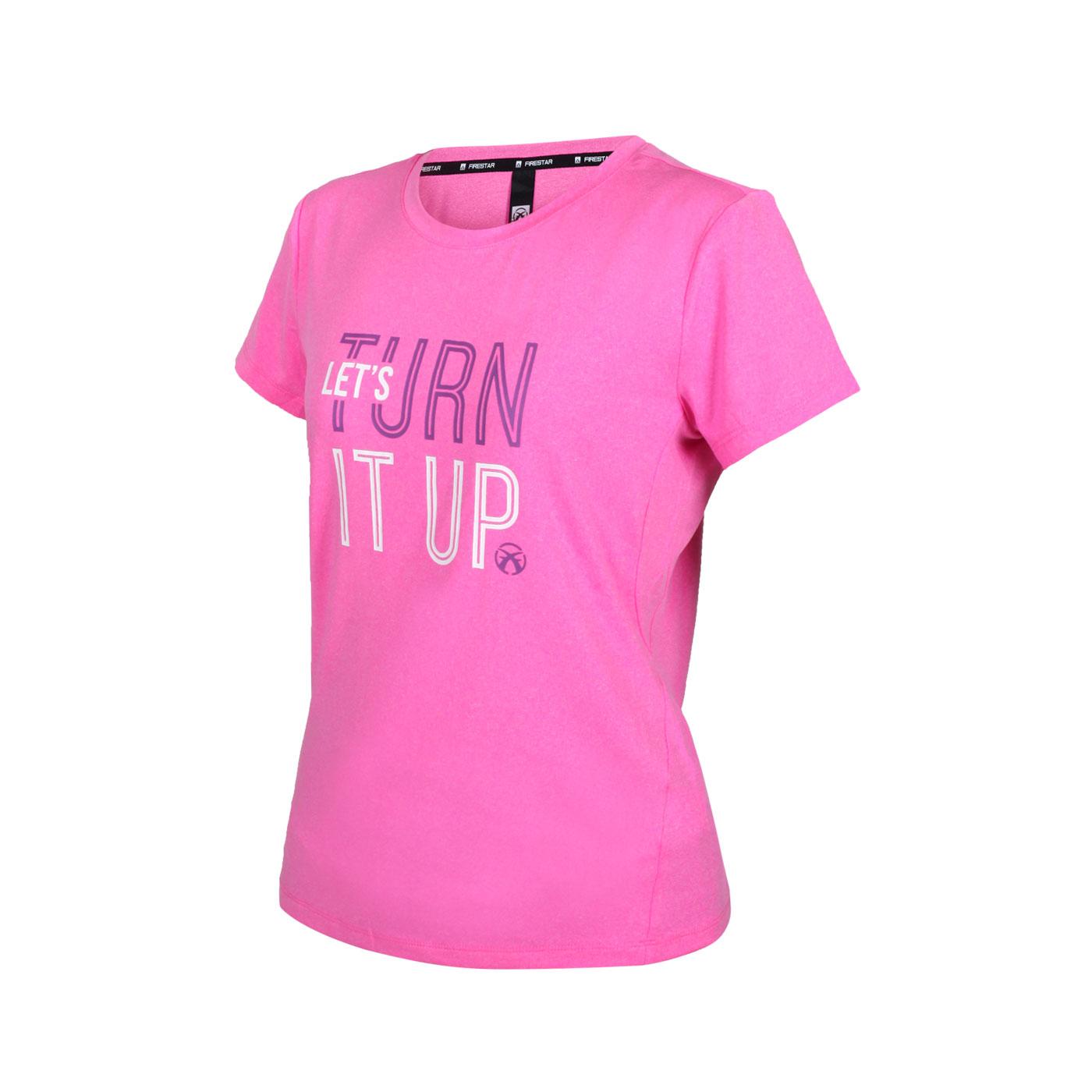FIRESTAR 女款彈性印花圓領短袖T恤 DL166-45 - 亮桃紅白