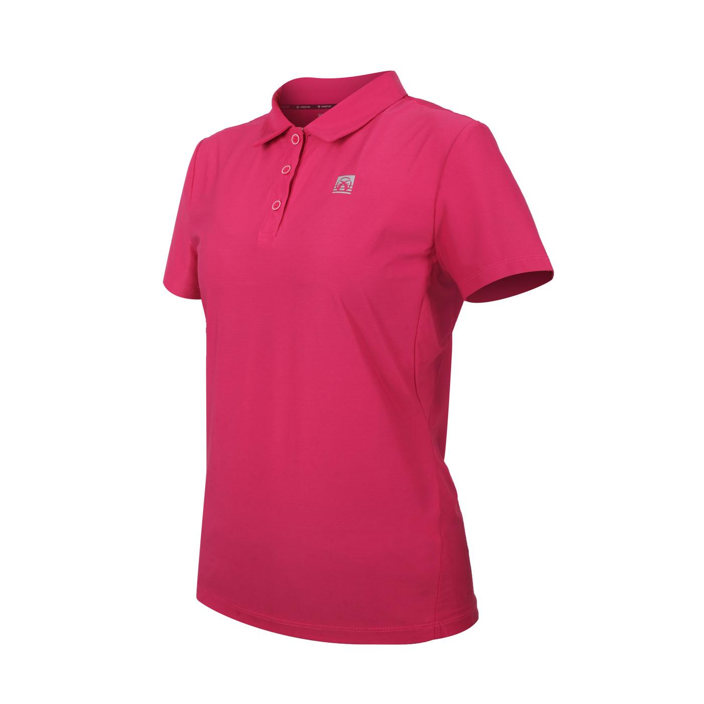 FIRESTAR 女款彈性機能短袖POLO衫 DL168-47 - 桃紅銀