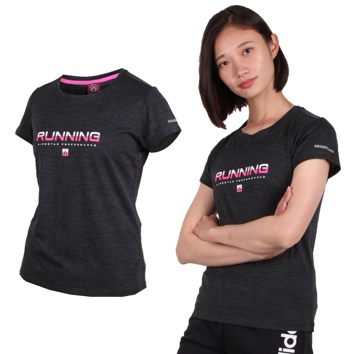 FIRESTAR 女款吸濕排汗圓領短袖T恤 DL961-19 - 深灰亮粉白