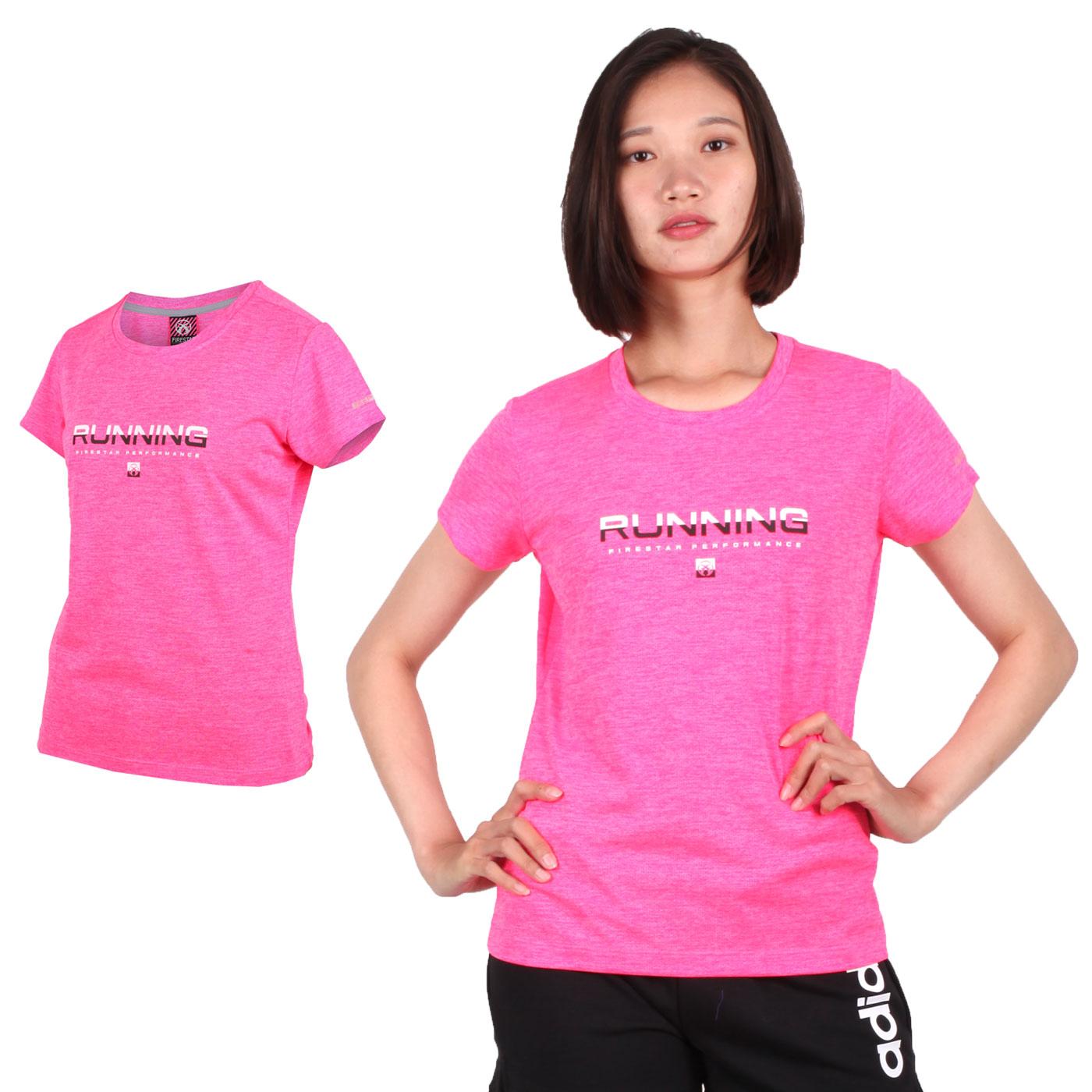 FIRESTAR 女款吸濕排汗圓領短袖T恤 DL961-19 - 螢光粉白黑