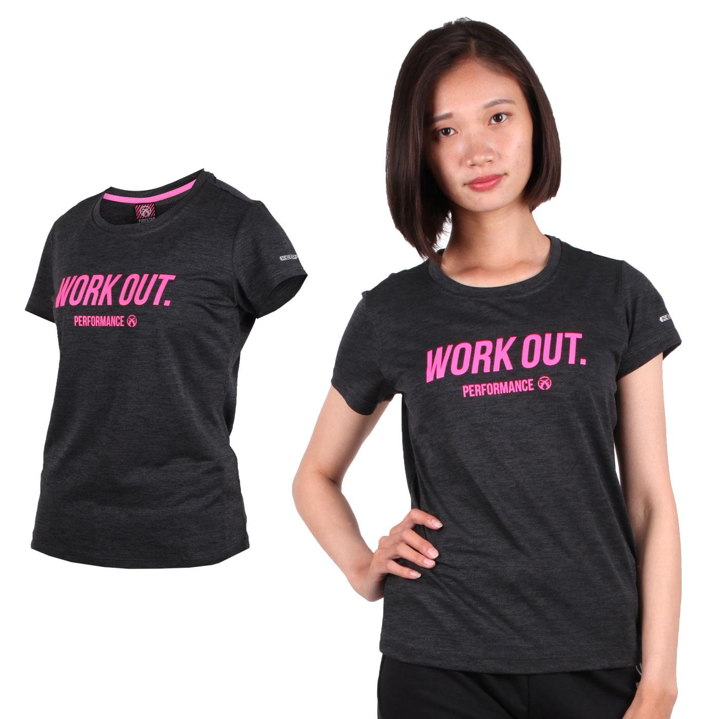 FIRESTAR 女款吸濕排汗圓領短袖T恤 DL962-19 - 深灰亮粉