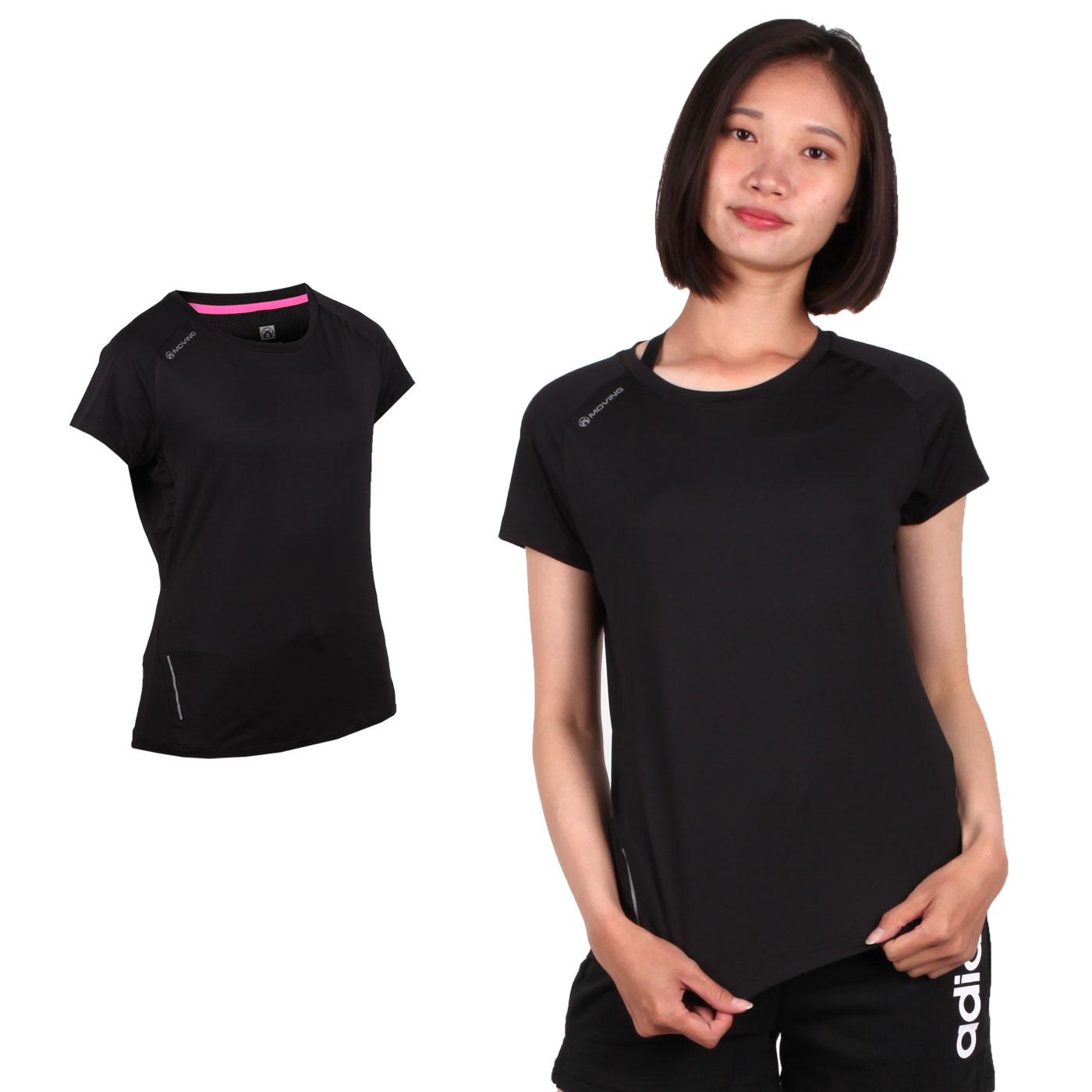 FIRESTAR 女款彈性短袖圓領T恤 DL965-10 - 黑