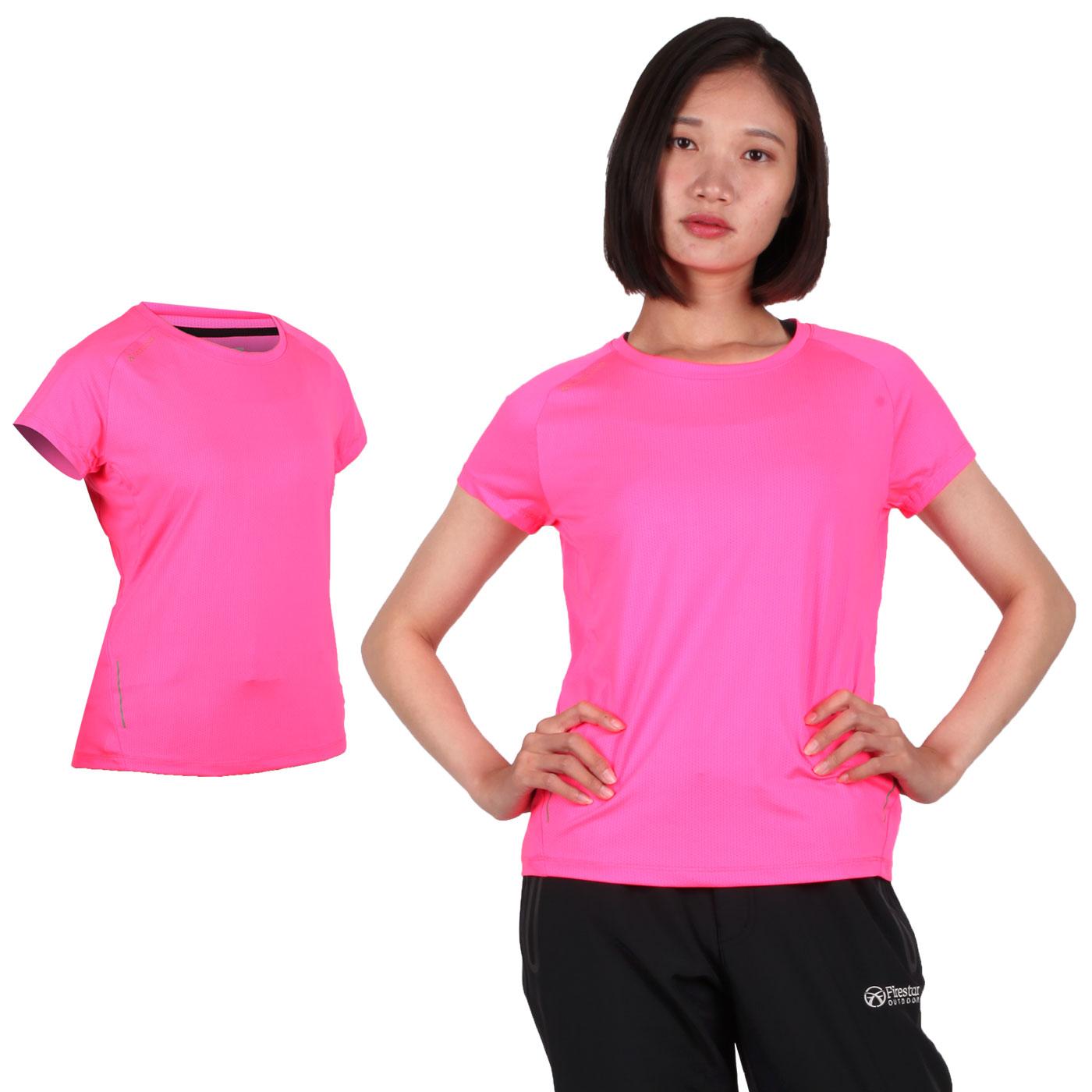 FIRESTAR 女款彈性短袖圓領T恤 DL965-10 - 亮桃紅