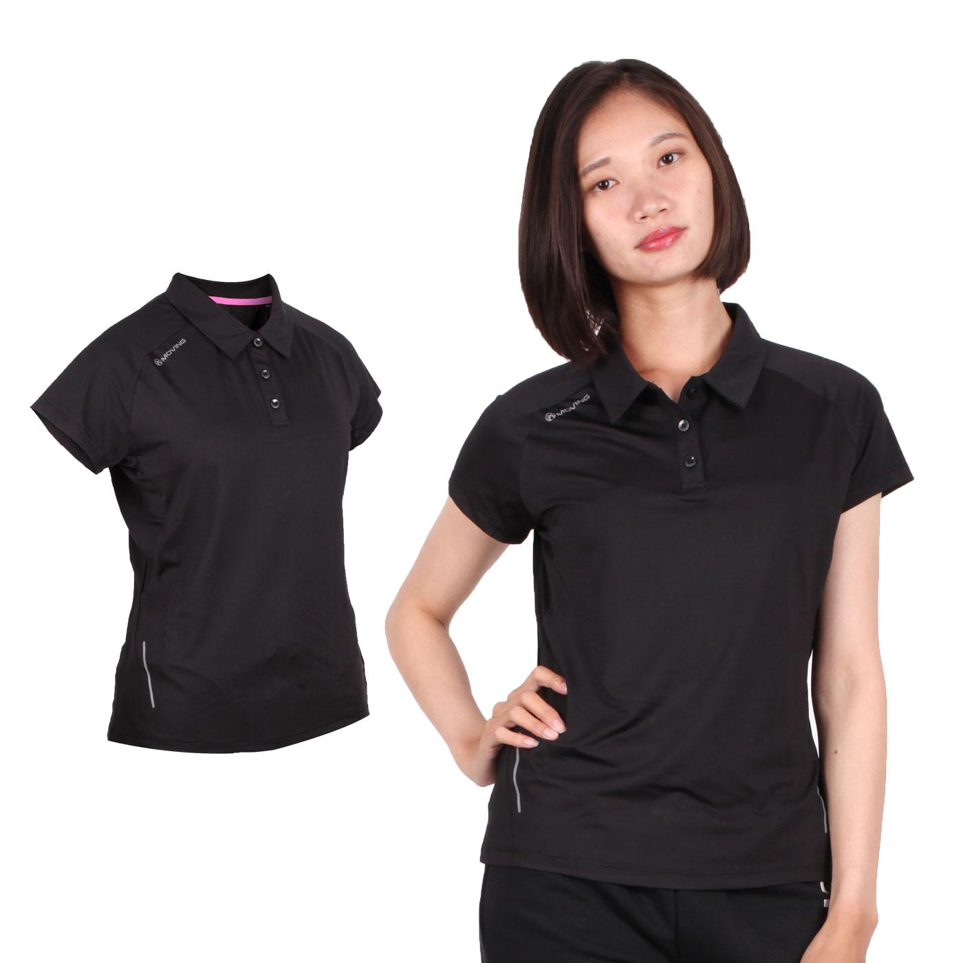 FIRESTAR 女款彈性短袖POLO衫 DL968-10 - 黑