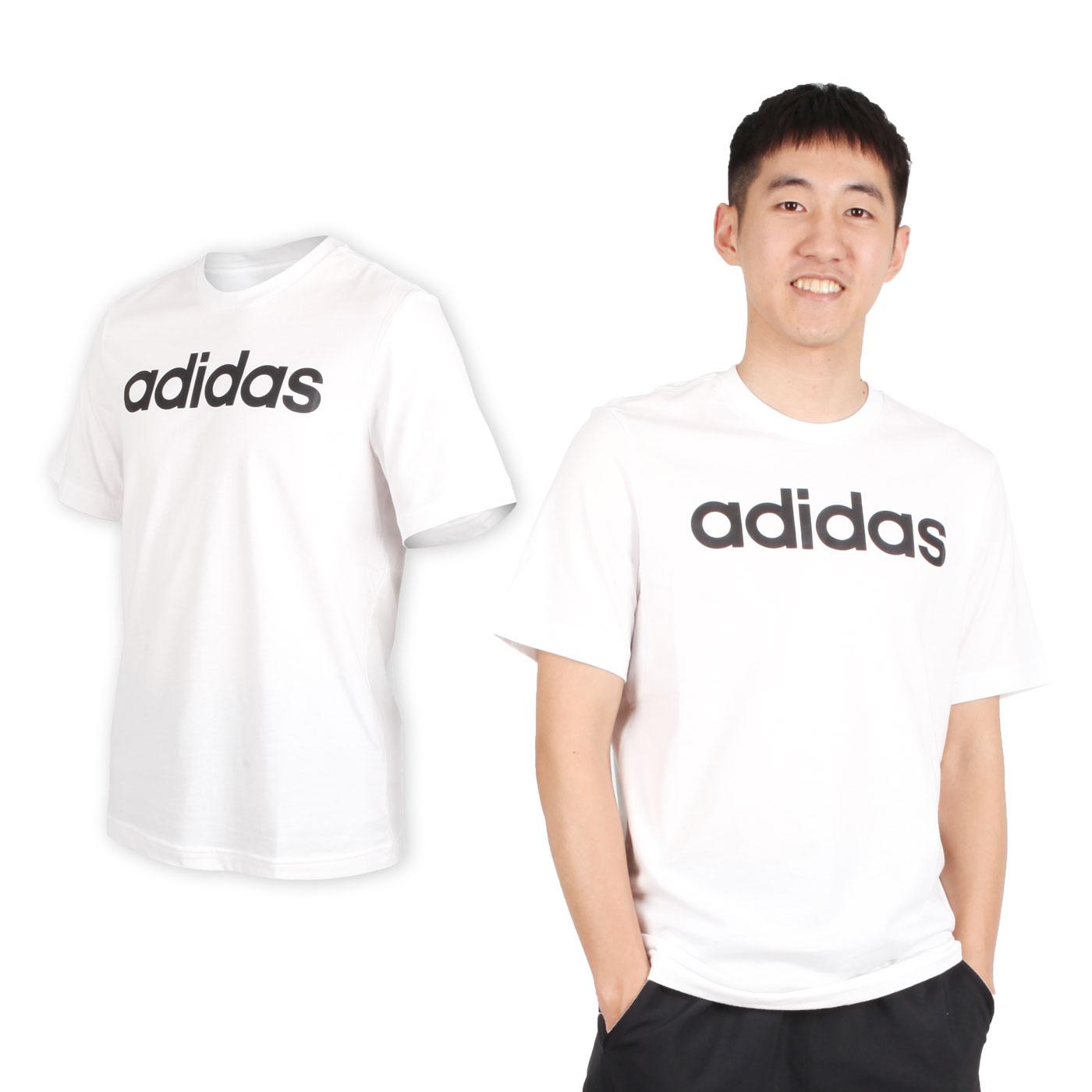 ADIDAS 男款短袖圓領T恤 DQ3056 - 白黑