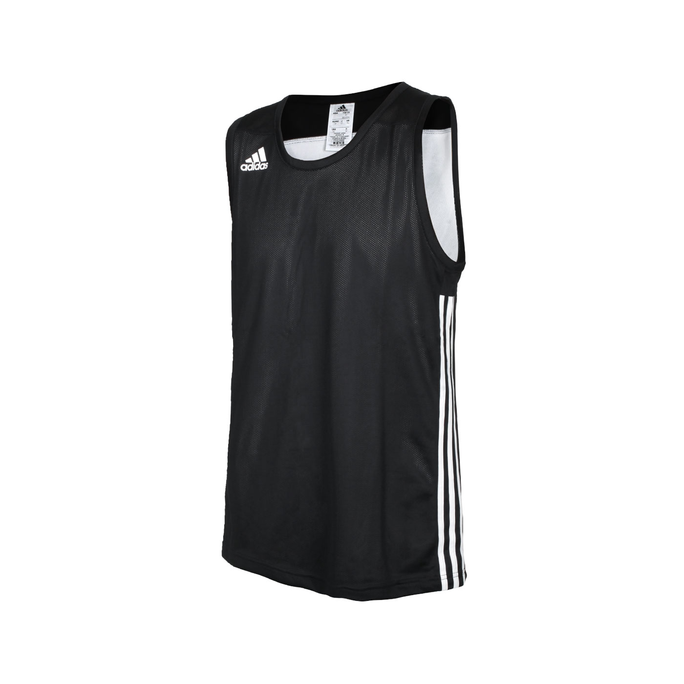 ADIDAS 男款籃球雙面運動背心 DX6385 - 黑白