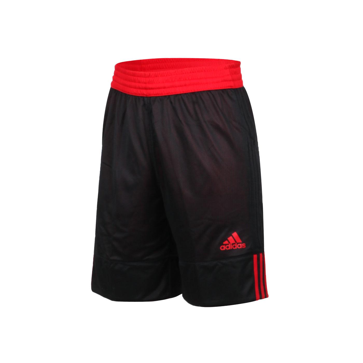ADIDAS 男款雙面籃球短褲 DX6386 - 黑紅