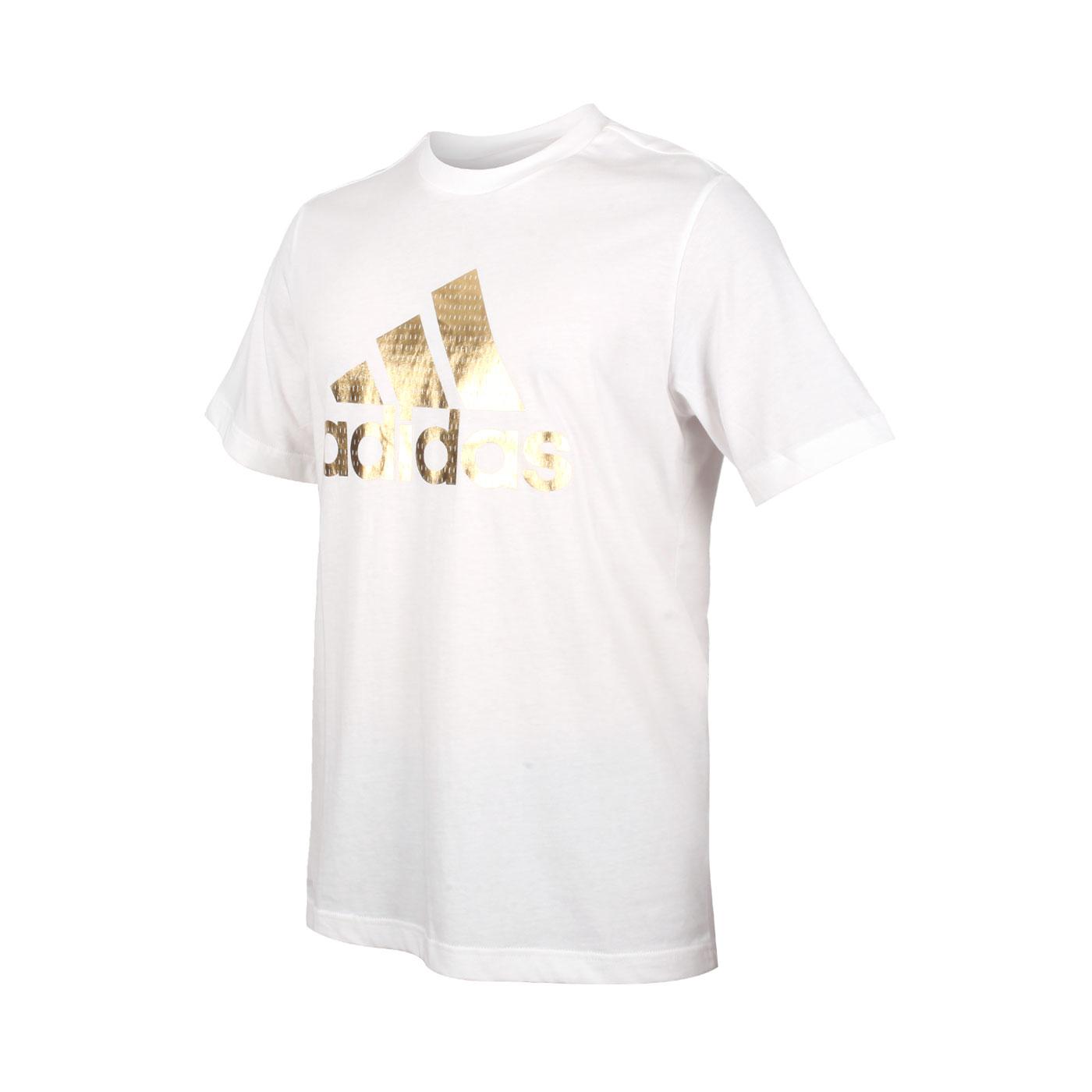 ADIDAS 男款短袖T恤 GE4688 - 白金