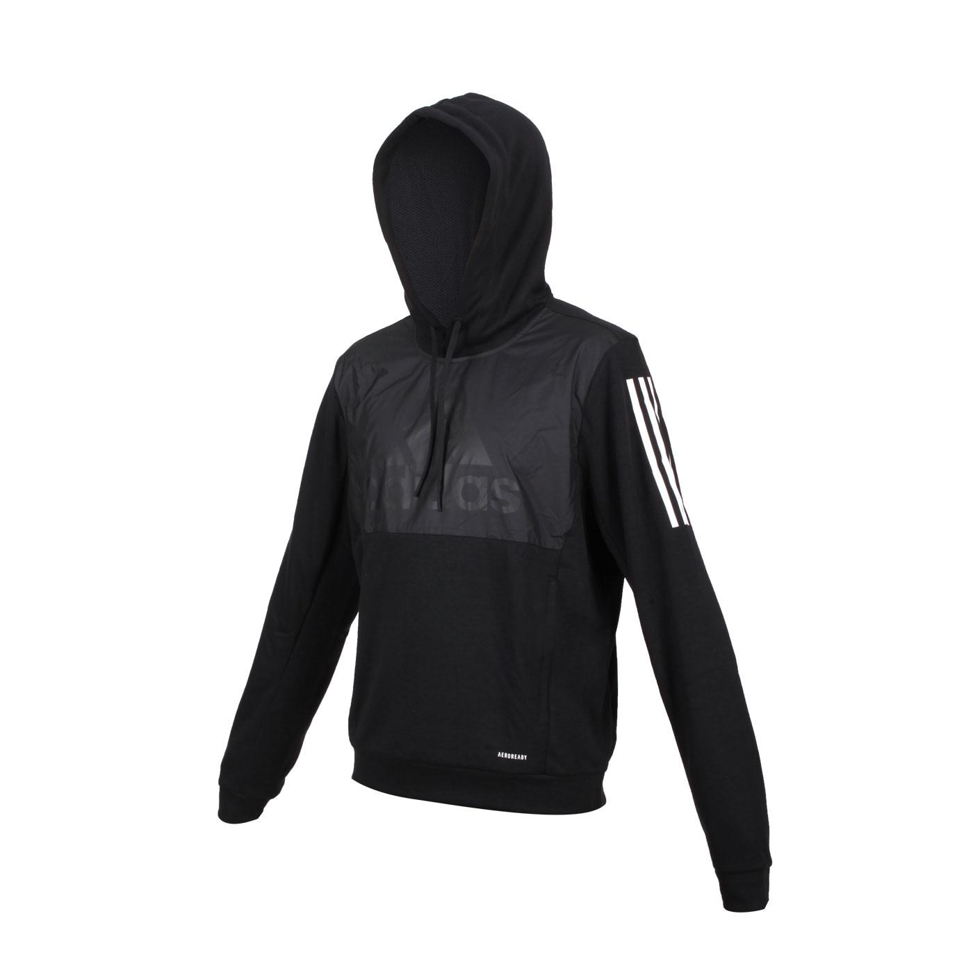 ADIDAS 男款長袖連帽T恤 GK5771 - 黑白