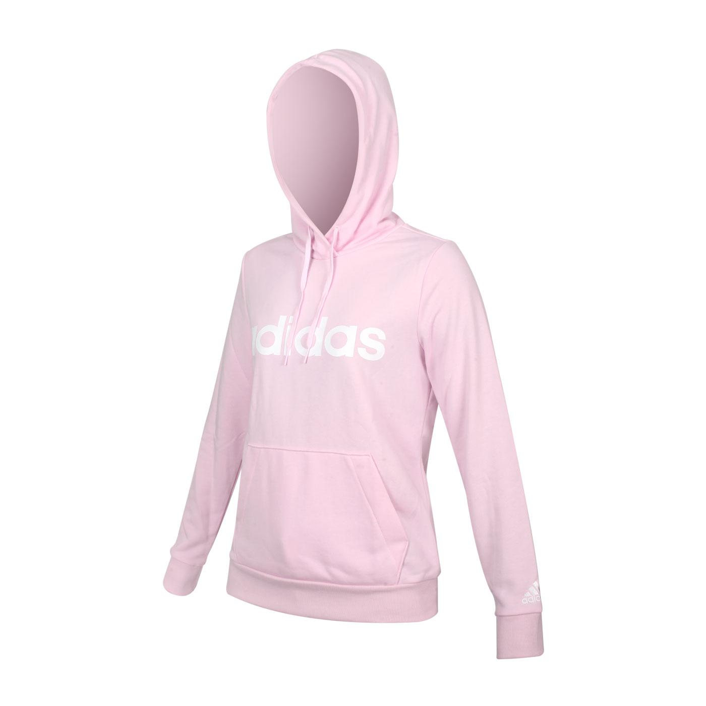 ADIDAS 女款長袖連帽T恤 GL0641 - 粉紅白