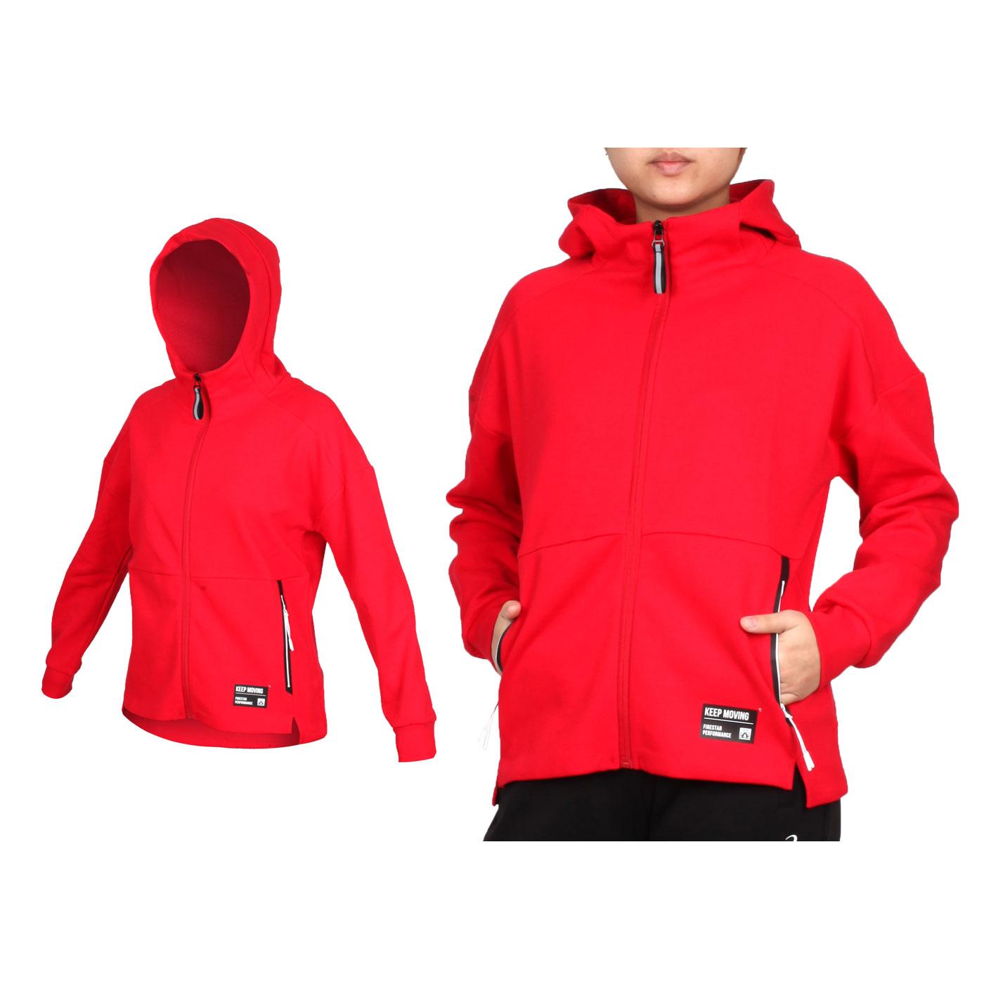 FIRESTAR 女款棉質立領連帽外套 GL918-17 - 紅