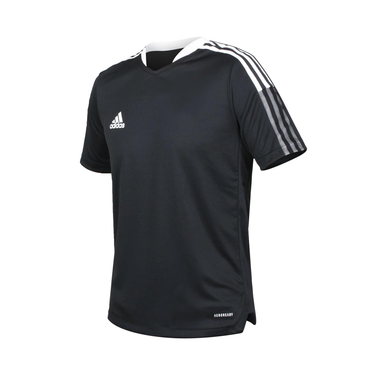 ADIDAS 大童足球短袖T恤 GM7575 - 黑白