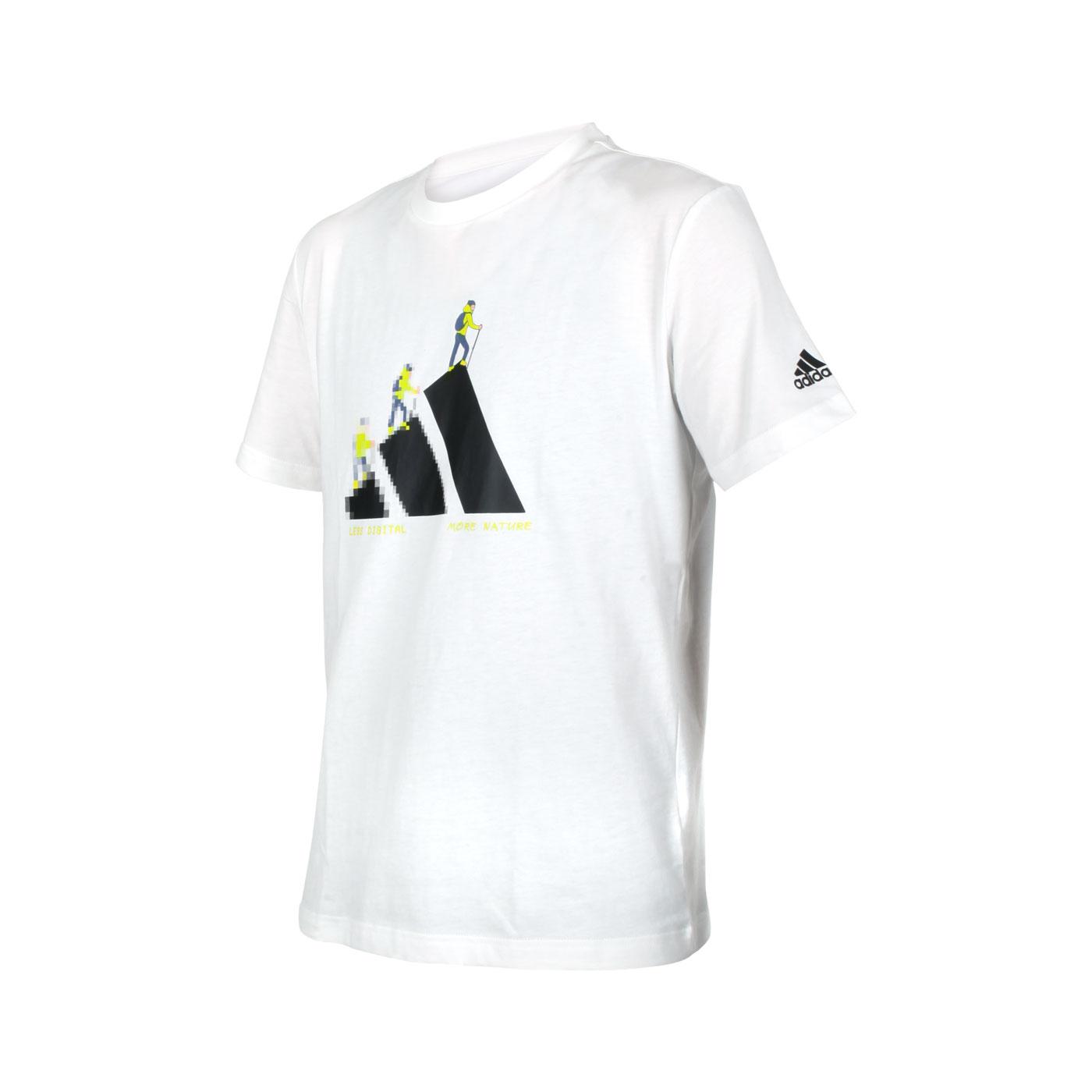 ADIDAS 男款短袖T恤 GN7321 - 白黑綠