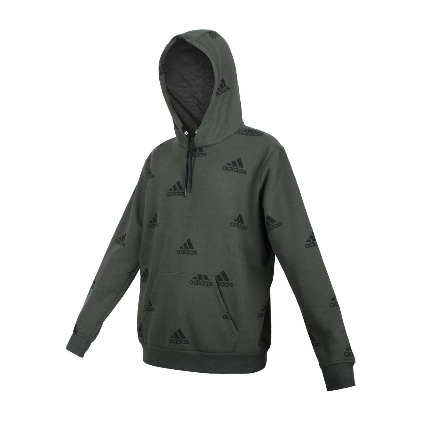 ADIDAS 男款連帽T恤 GQ5581 - 深綠黑