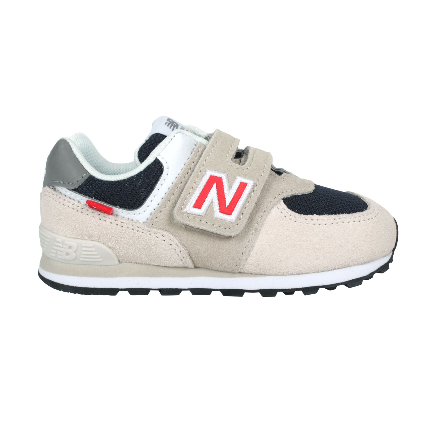 NEW BALANCE 小童休閒運動鞋-WIDE IV574SJ2 - 淺奶茶紅灰