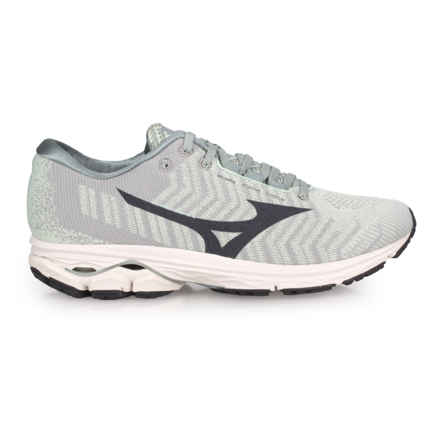 MIZUNO 男款慢跑鞋  @WAVE RIDER WAVEKNIT 3@J1GC192901 - 淺綠灰黑