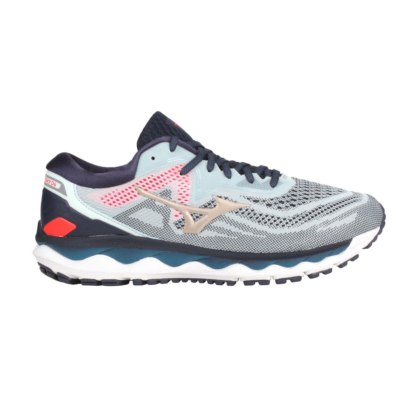 MIZUNO 男款慢跑鞋  @WAVE SKY 4@J1GC200242 - 丈青淺藍金